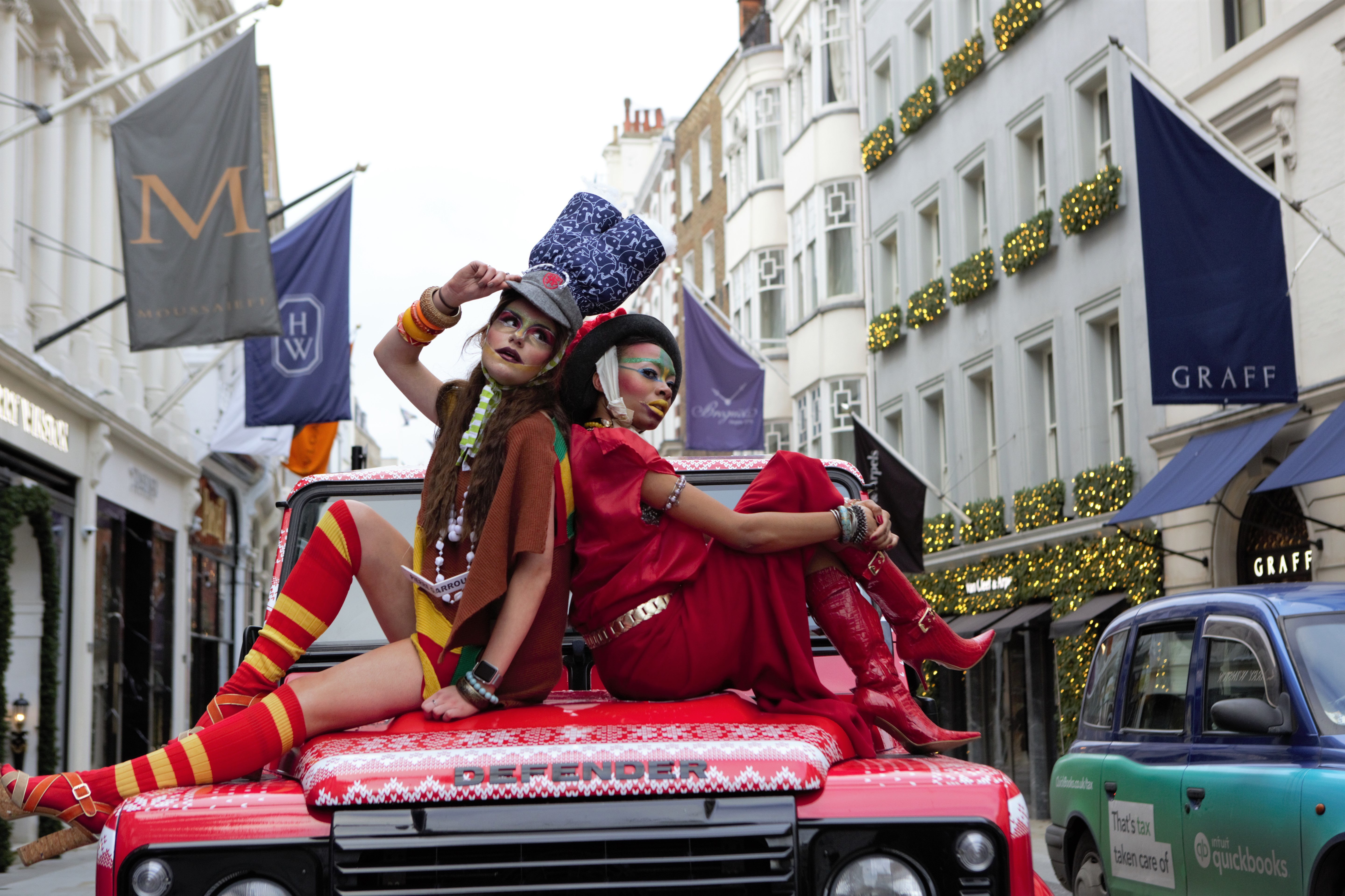 Models showcase Pierre Garroudi�s latest colorful collection at one of the designer�s specialty flash mob fashion shows in Bond Street, London. (Photo by Pietro Recchia / SOPA Images/Sipa USA)