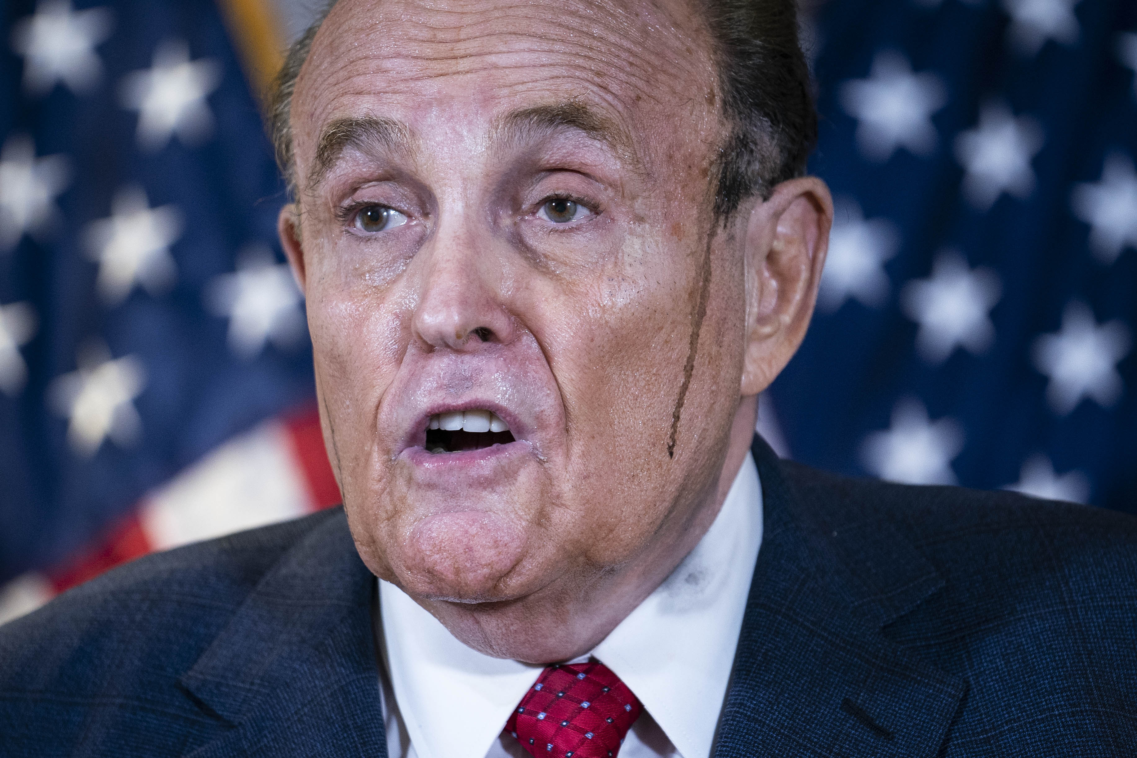 WASHINGTON, UNITED STATES - NOV 19: Former New York City Mayor Rudy Giuliani, lawyer for U.S. President Donald Trump, speaks during a news conference about lawsuits related to the presidential election results at the Republican National Committee headquarters in Washington, D.C., on Thursday Nov. 19, 2020. (Photo by Sarah Silbiger for The Washington Post via Getty Images)