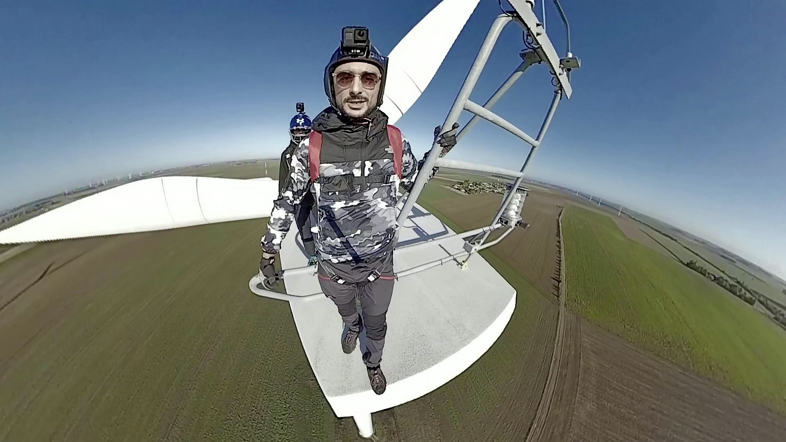 "A daring BASE jumper performed a perfect 'low level' stunt from a wind turbine but ended up face-planting the ground after he literally ploughed into a field. Kevin Marret, 28, had a lucky escape - with only his ego bruised - after the less than stellar landing after leaping off the 280ft turbine in the Midi- Pyrenees. The beautiful footage starts out well as Kevin jumps and freefalls for a moment before pulling his shoot. But he opened his chute a fraction of a second too late and, due to excessive forward momentum, ate dirt. Luckily Kevin was uninjured hurt and can see the funny side of the whole affair. Kevin, from Paris, France, said: ""I was visiting the location for Base jumping. I performed my chute pull too low, plus it was a bit windy. I need less delay before I pull next time."""