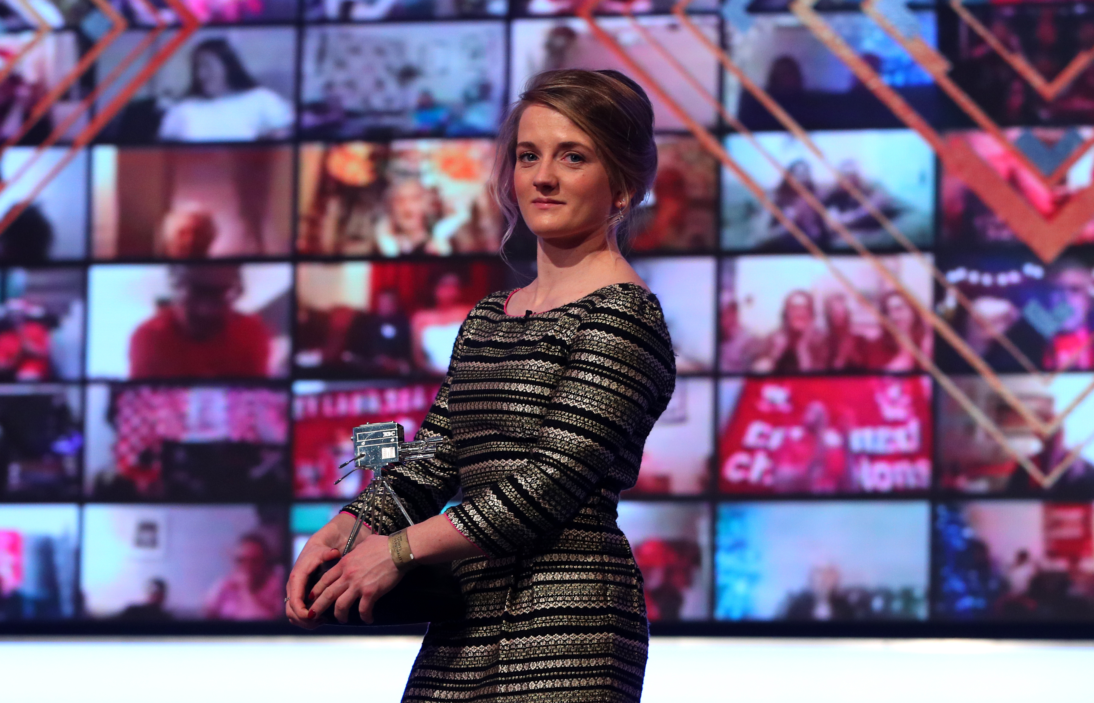 Hollie Doyle poses with her third placed award during the BBC Sports Personality of the Year 2020 at MediaCityUK, Salford. (Photo by Peter Byrne/PA Images via Getty Images)