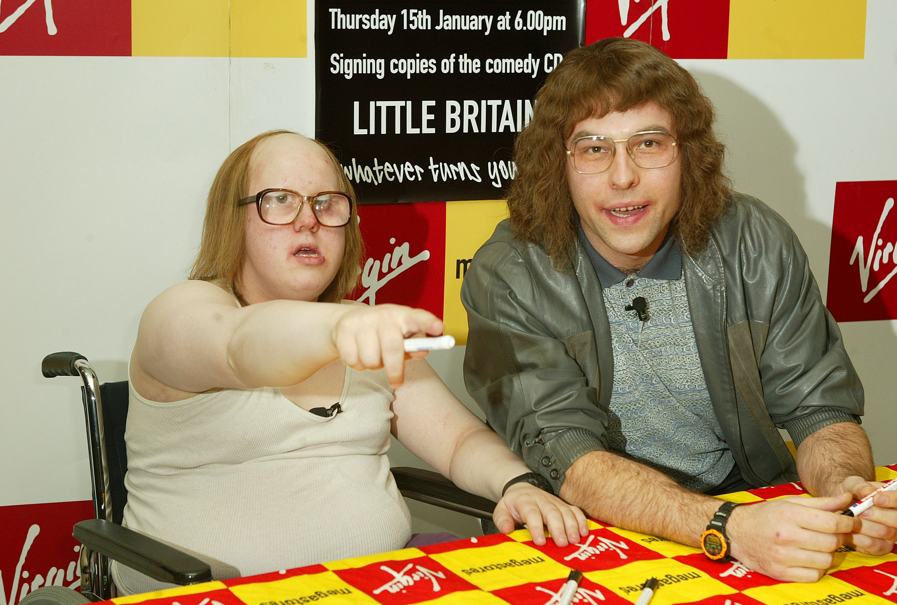 """Matt Lucas and David Walliams during Signing and Photo Call for """"Little Britain"""" at Virgin Megastore in London, Great Britain. (Photo by Mike Marsland/WireImage)"""