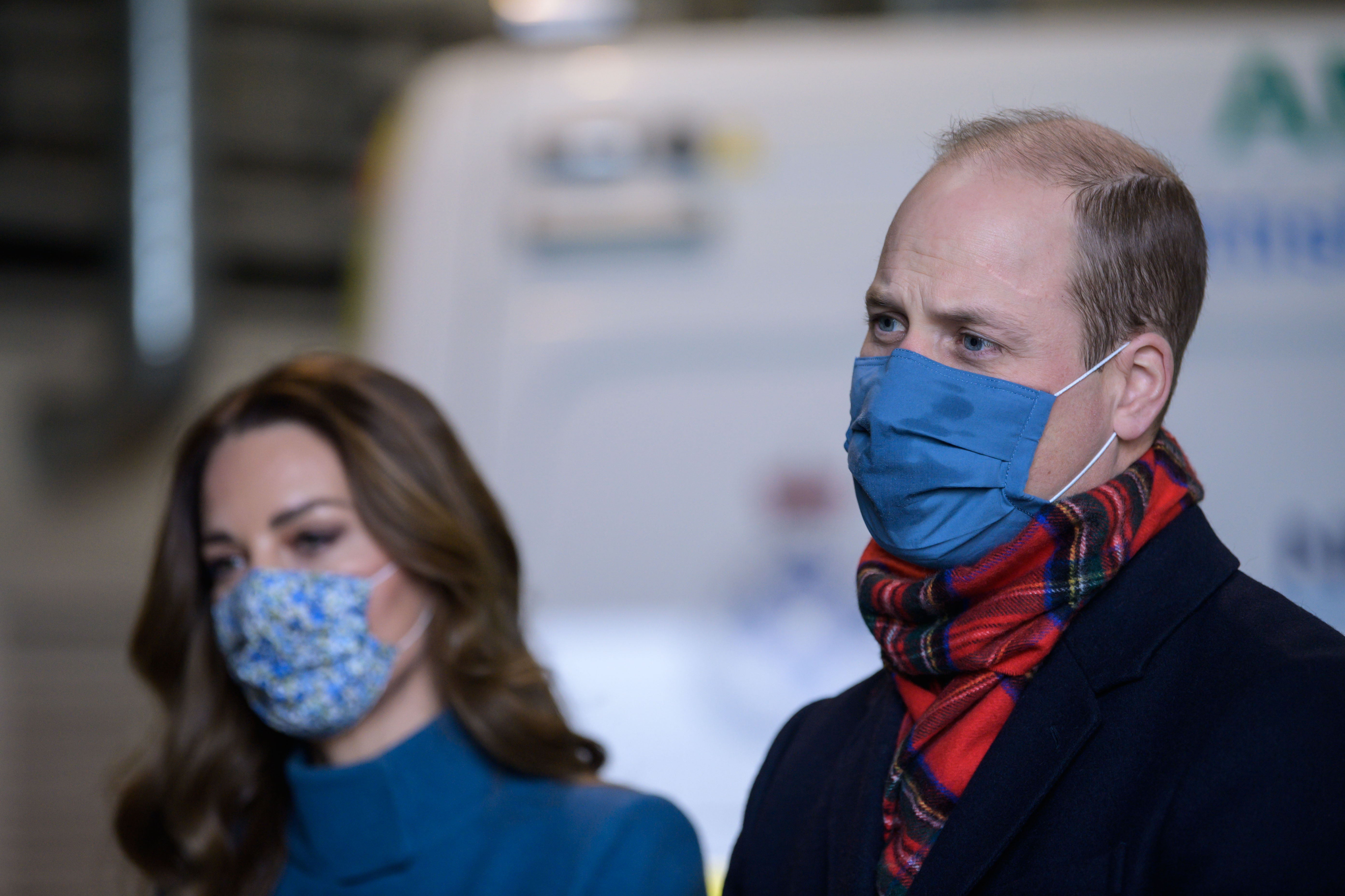 EDINBURGH, SCOTLAND - DECEMBER 07:  Prince William, Duke of Cambridge and Catherine, Duchess of Cambridge visit the Scottish Ambulance Service at Newbridge near Edinburgh as part of their working visits across the UK ahead of the Christmas holidays on December 7, 2020 in Edinburgh, Scotland, United Kingdom. During the tour William and Kate will visit communities, outstanding individuals and key workers to thank them for their efforts during the coronavirus pandemic. (Photo by Wattie Cheung - WPA Pool/Getty Images)