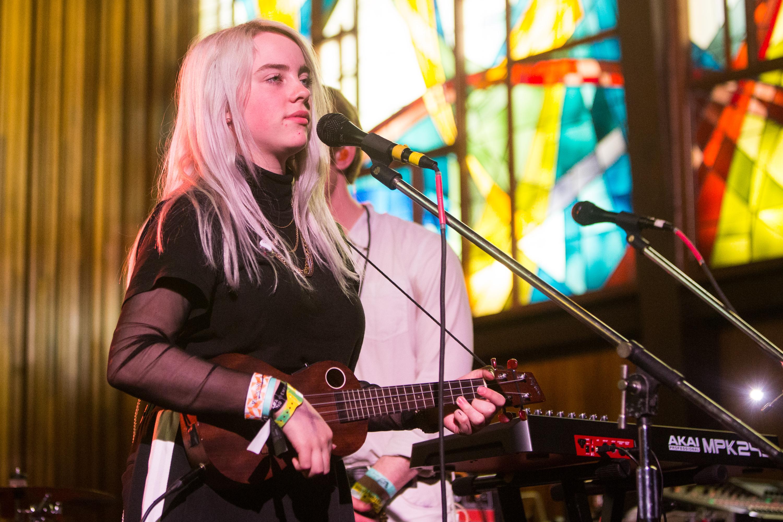 AUSTIN, TX - MARCH 16:  Billie Eilish performs at the Central Presbyterian Church on March 16, 2017 in Austin, Texas.  (Photo by Lorne Thomson/Redferns)