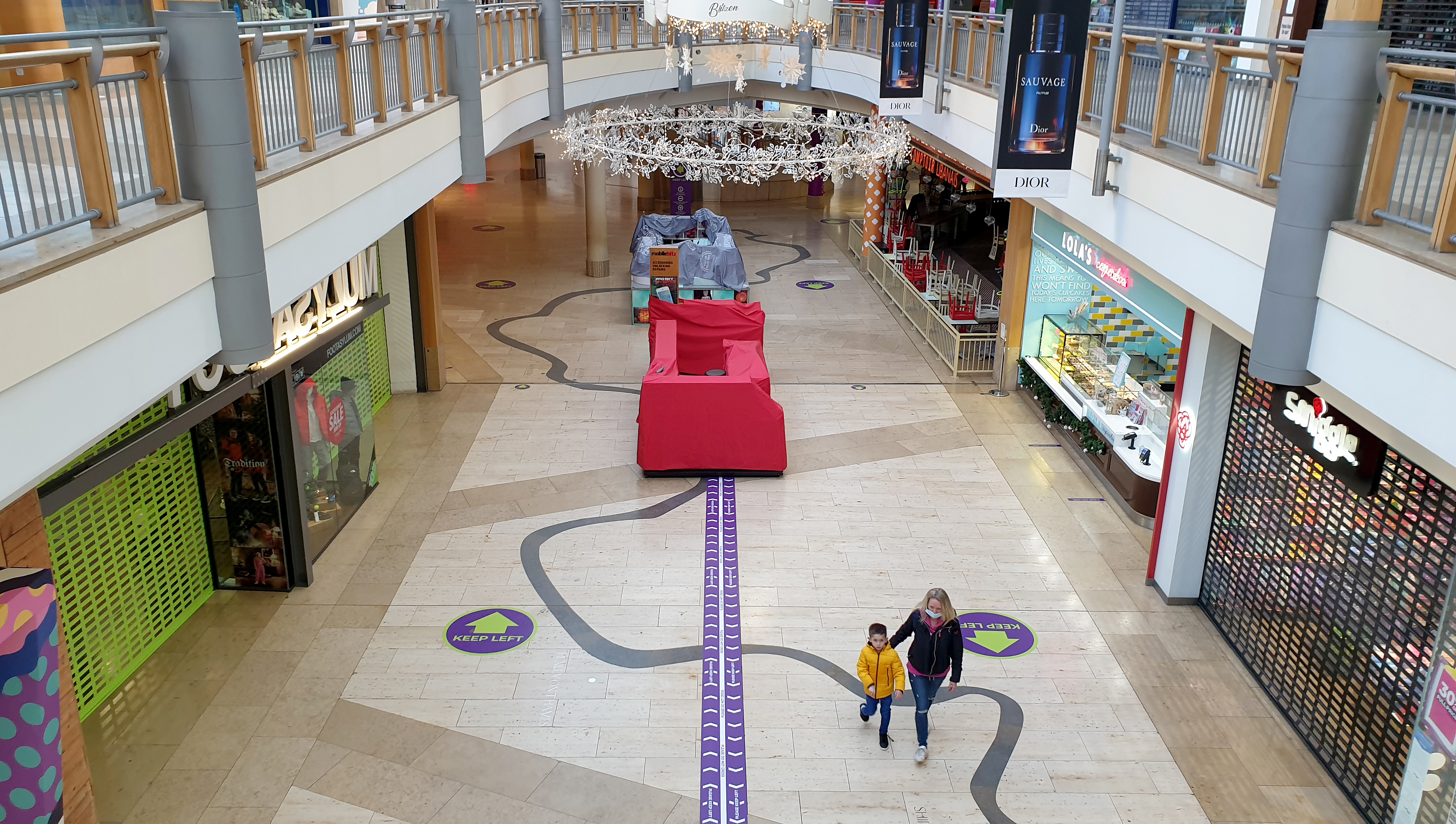 A view of Bluewater shopping centre in Stone, Kent, after after Prime Minister Boris Johnson cancelled Christmas for almost 18 million people across London and eastern and south-east England, after scientists warned of the rapid spread of the new variant coronavirus.