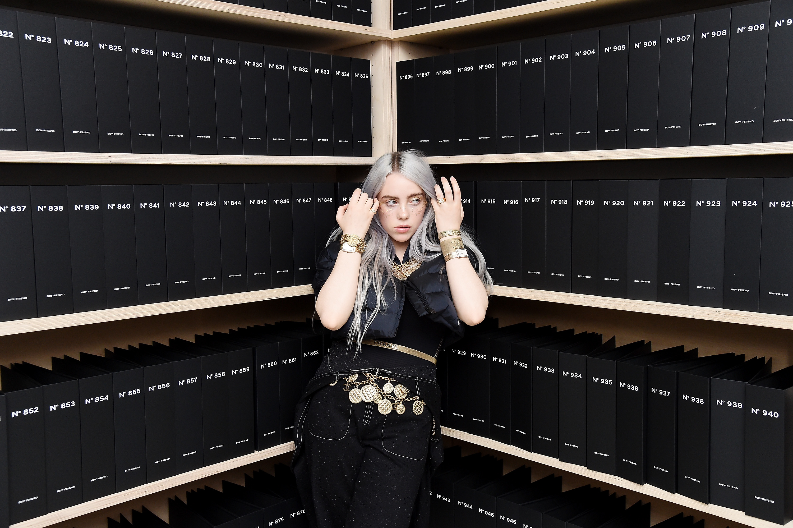 NEW YORK, NY - NOVEMBER 10:  Singer Billie Eilish, wearing CHANEL, attends as CHANEL celebrates the launch of the Coco Club, a Boy-Friend Watch event at The Wing Soho on November 10, 2017 in New York City.  (Photo by Nicholas Hunt/WireImage )