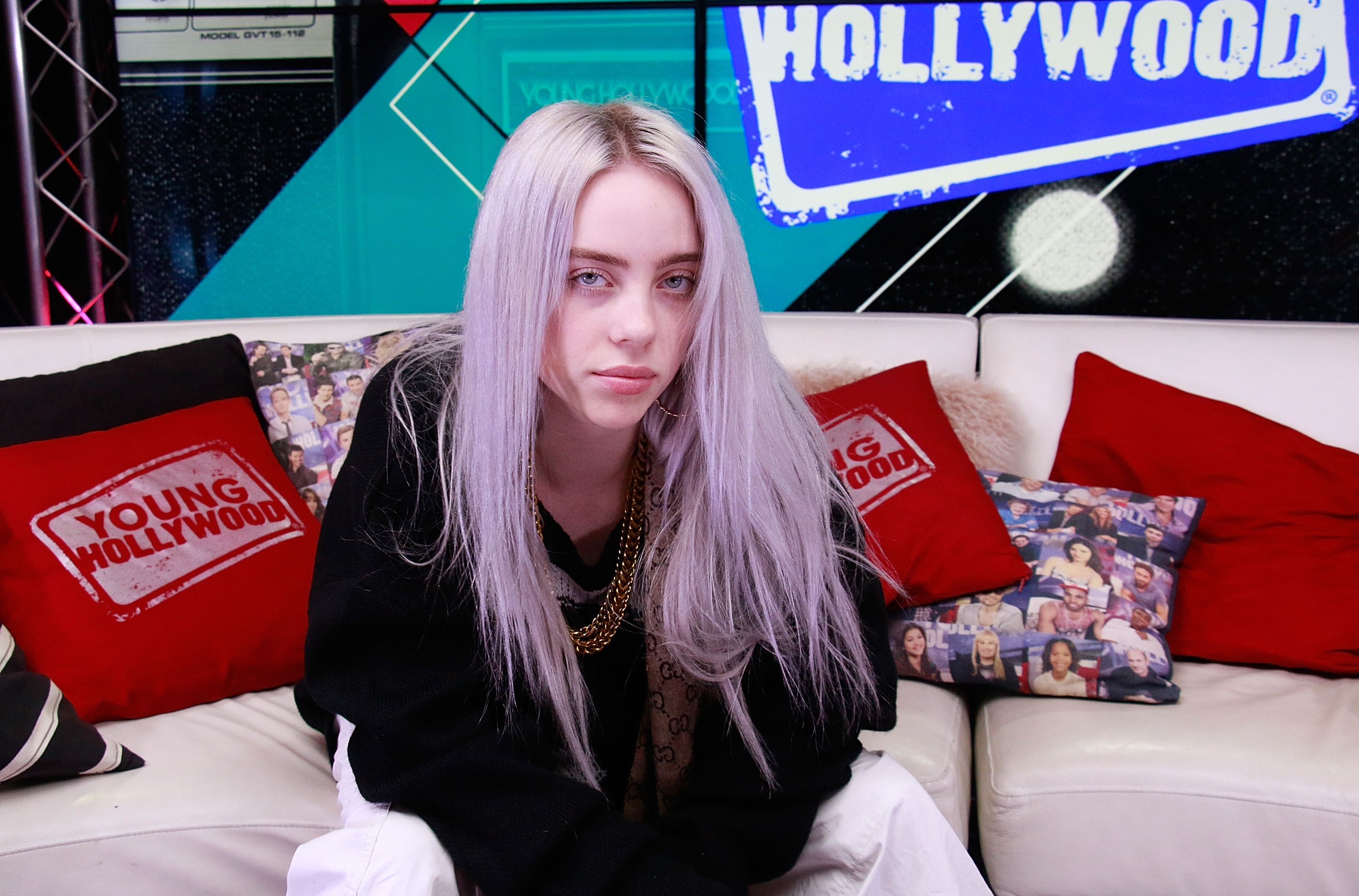 LOS ANGELES, CA - September 27: (EXCLUSIVE COVERAGE) Billie Eilish visits the Young Hollywood Studio on September 27, 2017 in Los Angeles, California. (Photo by Mary Clavering/Young Hollywood/Getty Images)