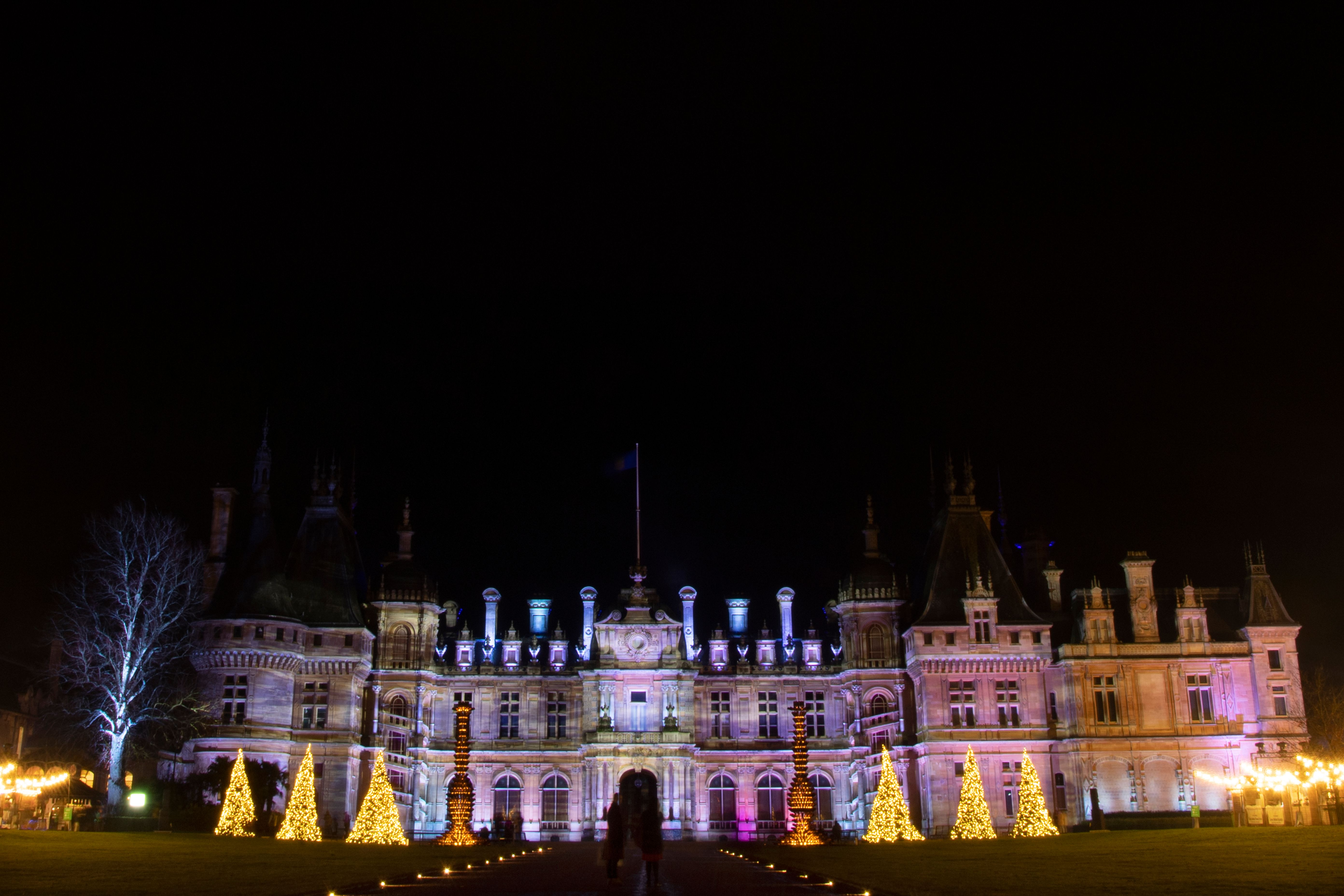 The Manor is seen illuminated at a photo call for the annual 'winter light' Christmas displays at Waddesdon Manor in Aylesbury, north west of London, on December 3, 2020. (Photo by BEN STANSALL / AFP) (Photo by BEN STANSALL/AFP via Getty Images)