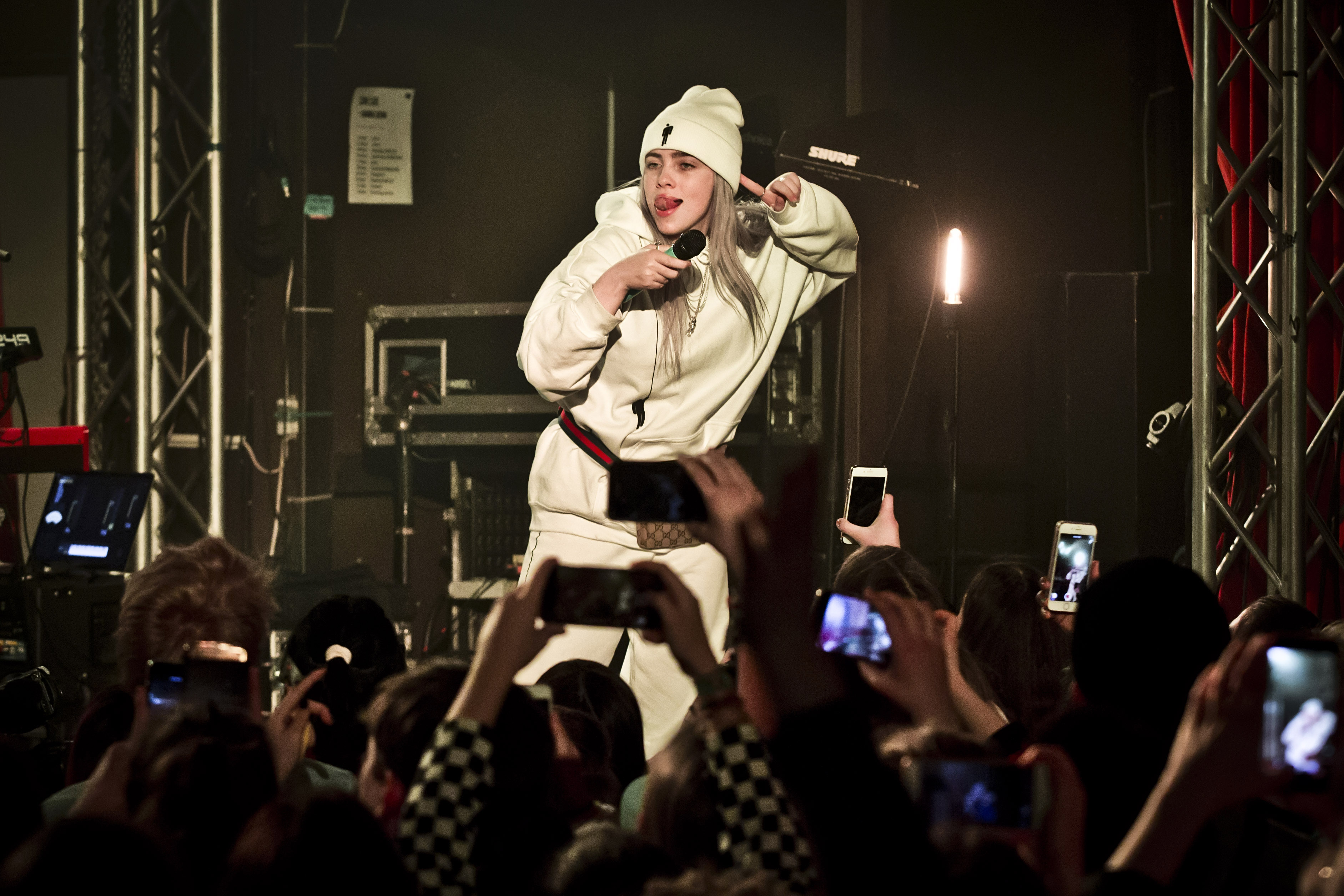 BERLIN, GERMANY - FEBRUARY 26: American singer Billie Eilish performs live on stage during a concert at the Lido on February 26, 2018 in Berlin, Germany. (Photo by Frank Hoensch/Redferns)