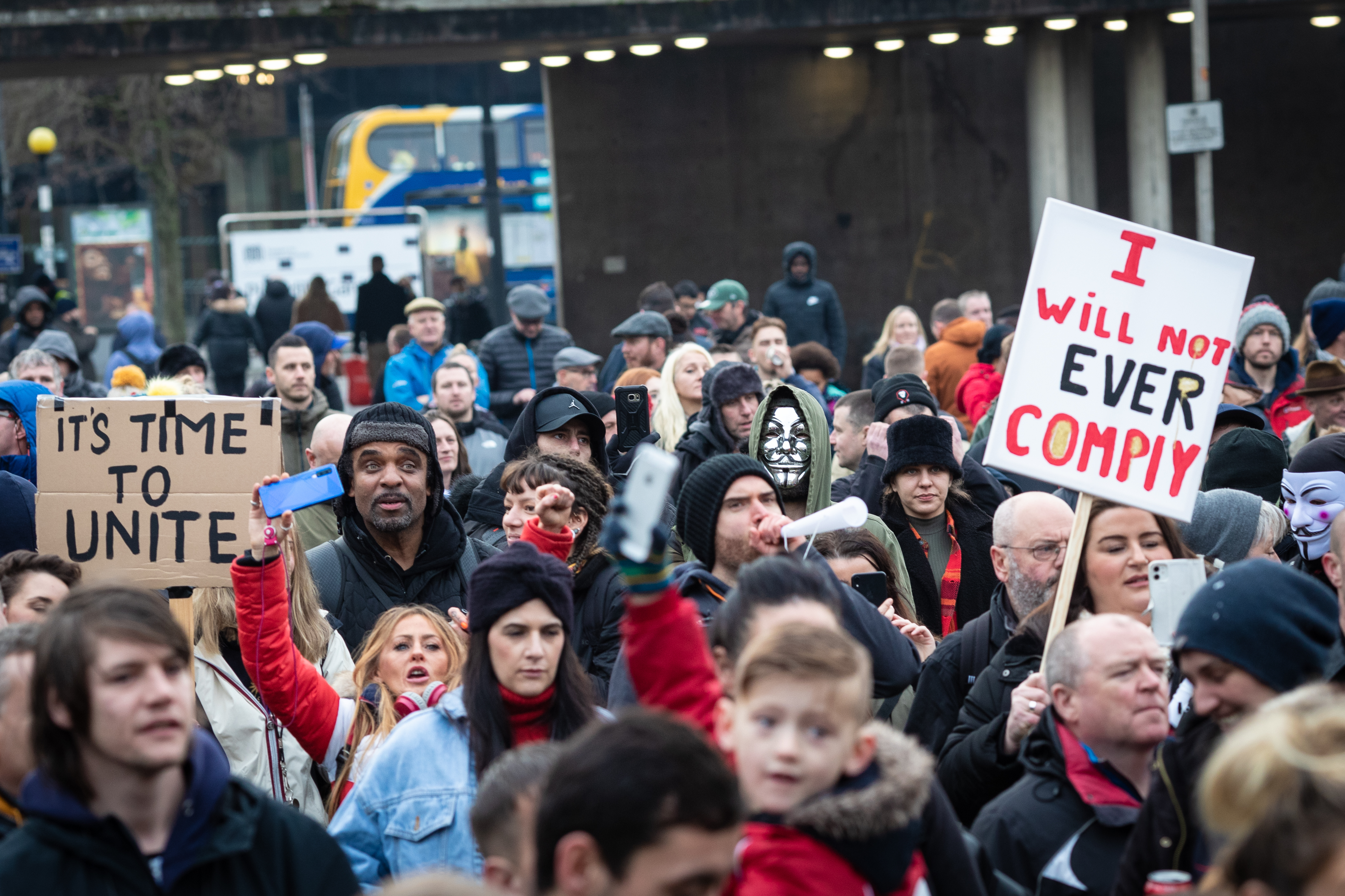 A protester holding a placard expressing her opinion in the crowd at Piccadilly Gardens during the freedom march. Protesters take to the streets again to rise awareness regarding the recent lockdowns and how it is affecting peoples livelihoods. (Photo by Andy Barton / SOPA Images/Sipa USA)