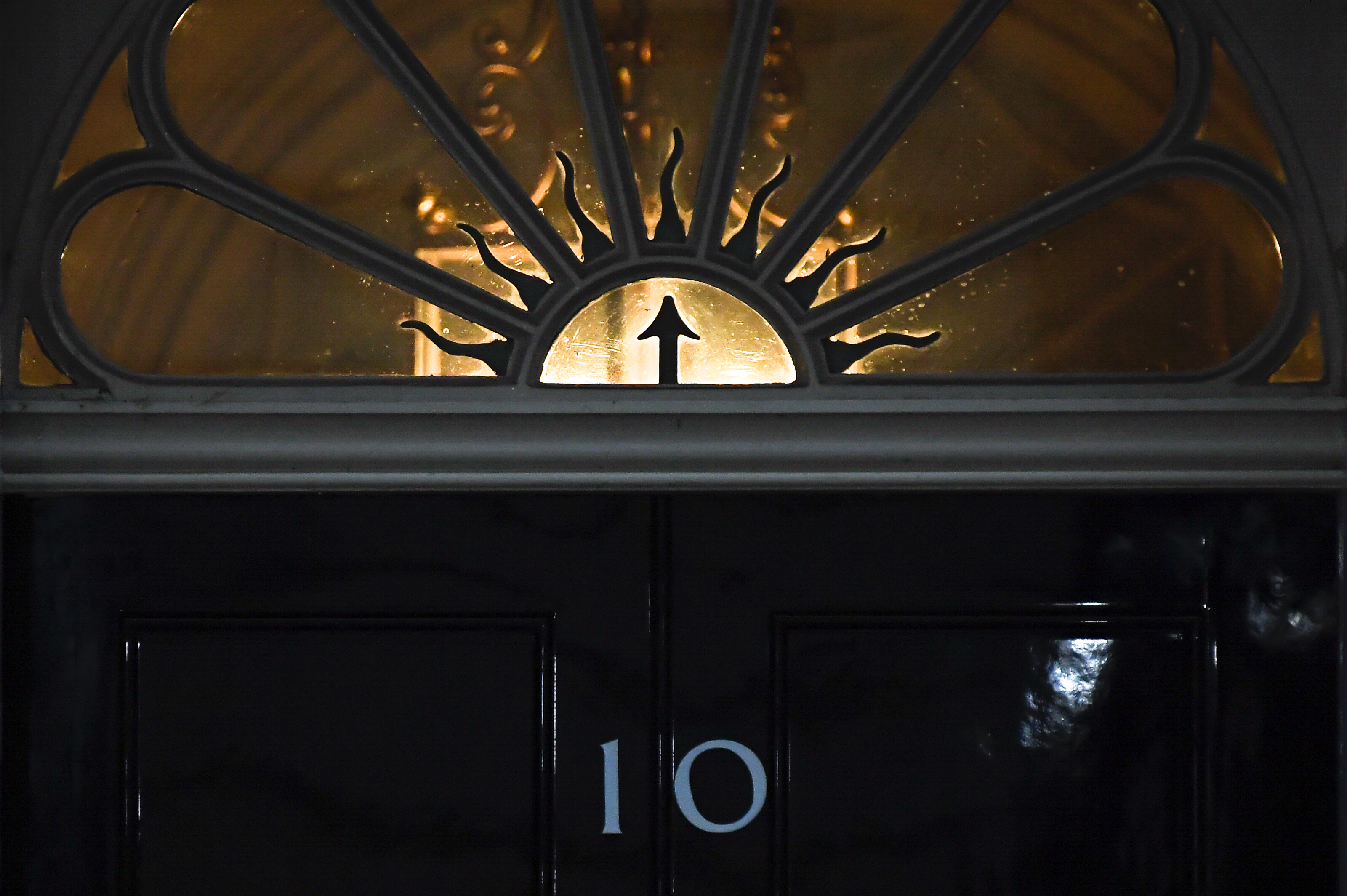 The door of 10 Downing Street, in London, Sunday, Dec. 13, 2020.  (AP Photo/Alberto Pezzali)