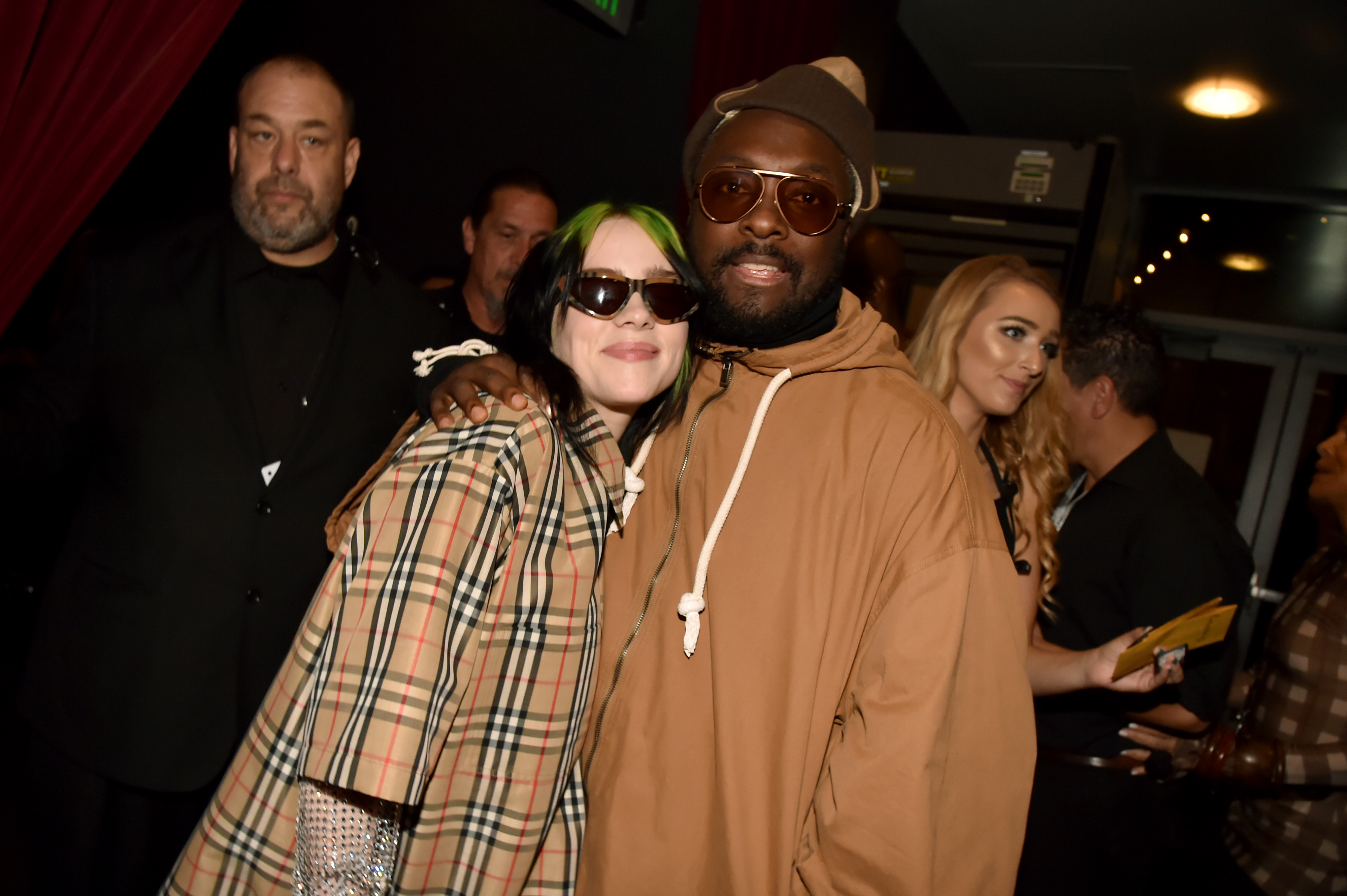 LOS ANGELES, CALIFORNIA - NOVEMBER 24: (L-R) Billie Eilish and will.i.am attend the 2019 American Music Awards at Microsoft Theater on November 24, 2019 in Los Angeles, California. (Photo by Jeff Kravitz/AMA2019/FilmMagic for dcp)