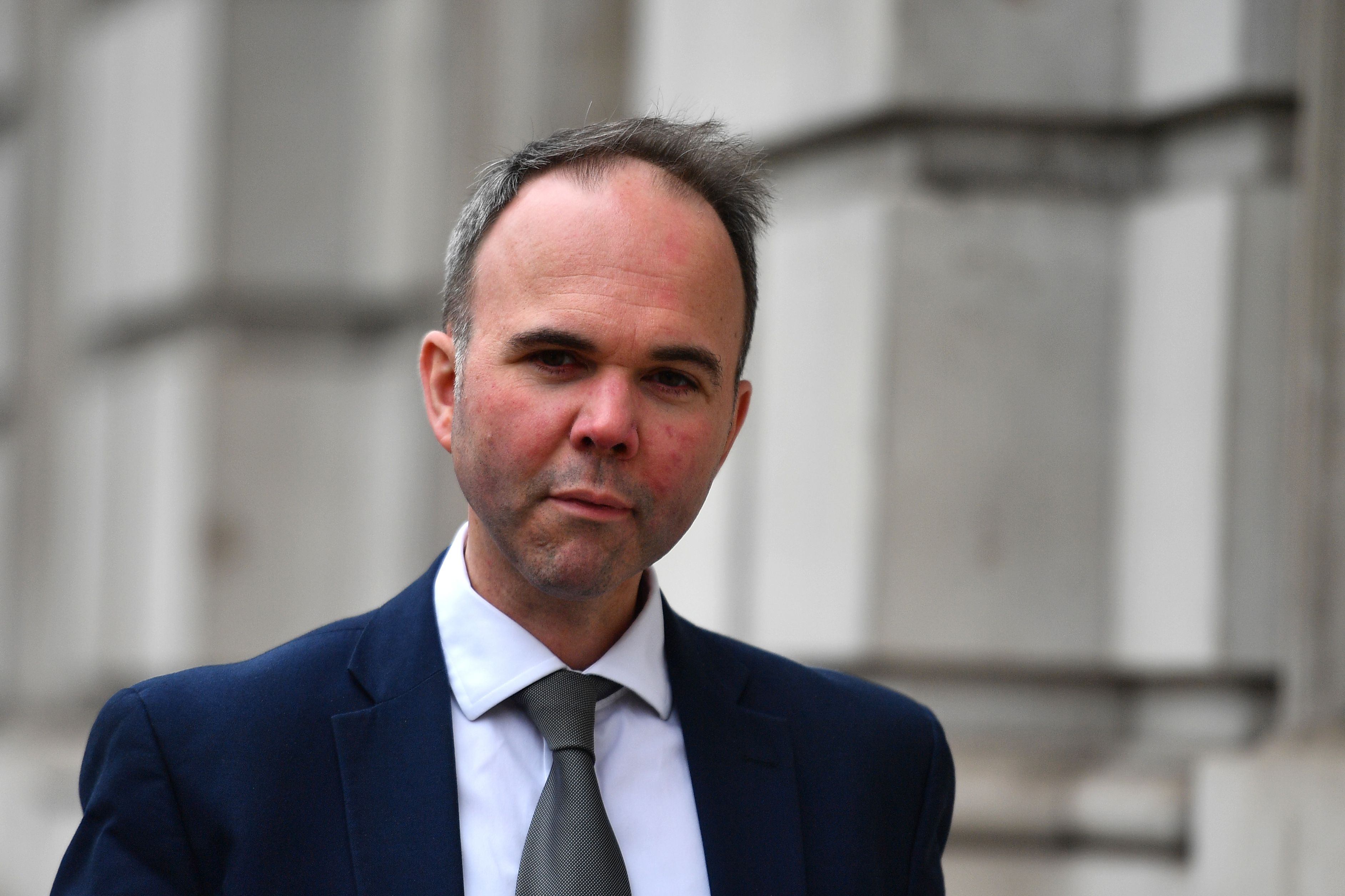 """Number 10 Chief of Staff Gavin Barwell arrives at the cabinet office in central London on April 8, 2019. - Prime Minister Theresa May will today press ahead with her bid for a Brexit """"compromise"""" with the opposition despite a backlash from her own party, as she attempts to prevent Britain crashing out of the European Union this week. (Photo by Daniel LEAL-OLIVAS / AFP)        (Photo credit should read DANIEL LEAL-OLIVAS/AFP via Getty Images)"""