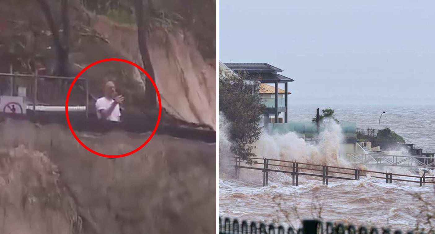 Man's shocking close call as iconic beach washed away by king tide