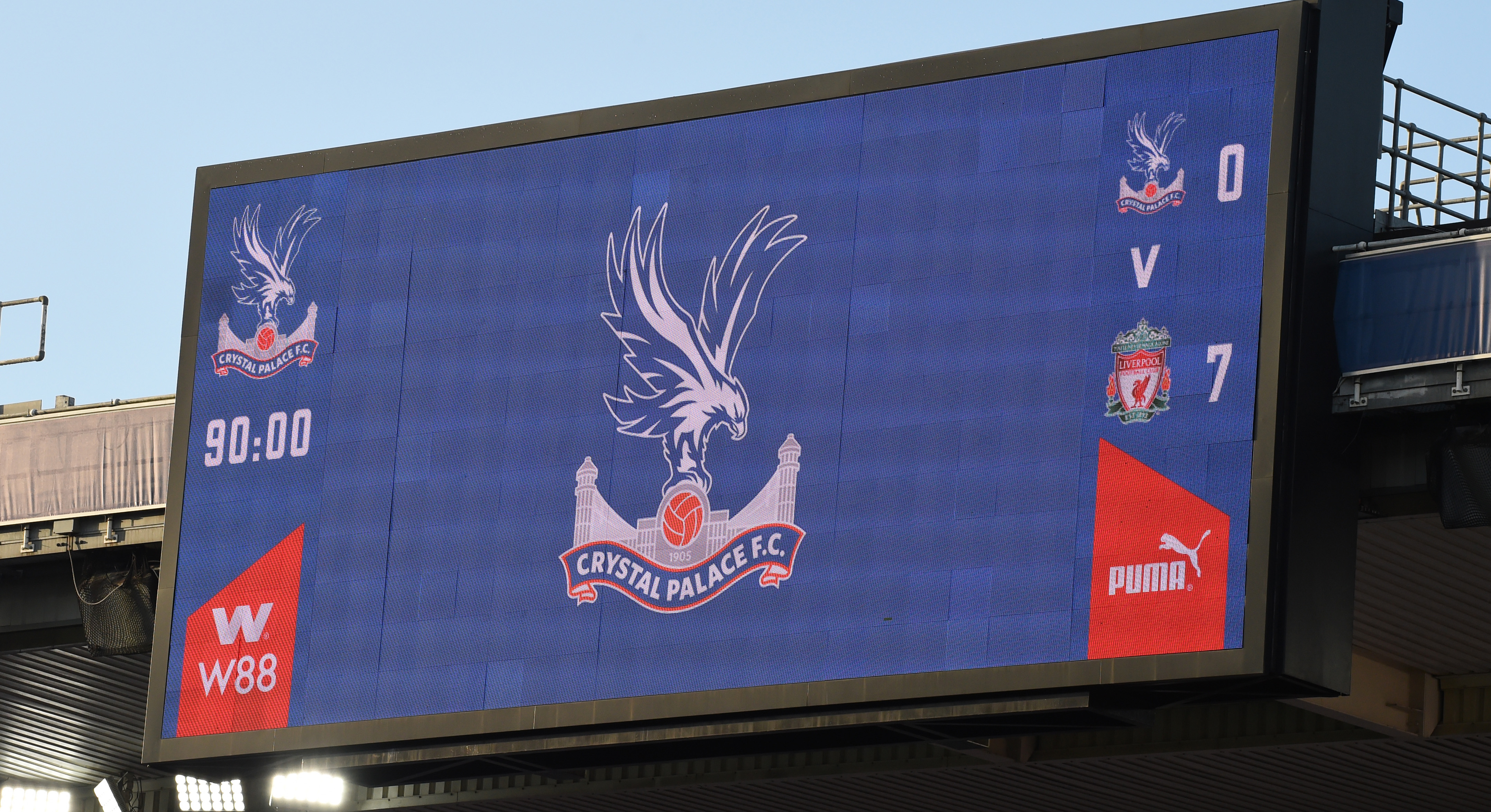 LONDON, ENGLAND - DECEMBER 19:  (THE SUN OUT,THE SUN ON SUNDAY OUT)  Final Score Board  showing 7-0 for Liverpool during the Premier League match between Crystal Palace and Liverpool at Selhurst Park on December 19, 2020 in London, England. The match will be played without fans, behind closed doors as a Covid-19 precaution. (Photo by John Powell/Liverpool FC via Getty Images)