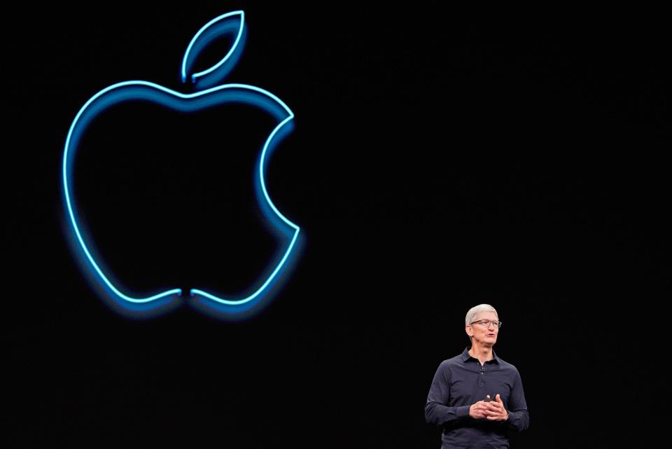 Apple CEO Tim Cook speaks during Apple's annual Worldwide Developers Conference in San Jose, California, U.S. June 3, 2019. REUTERS/Mason Trinca