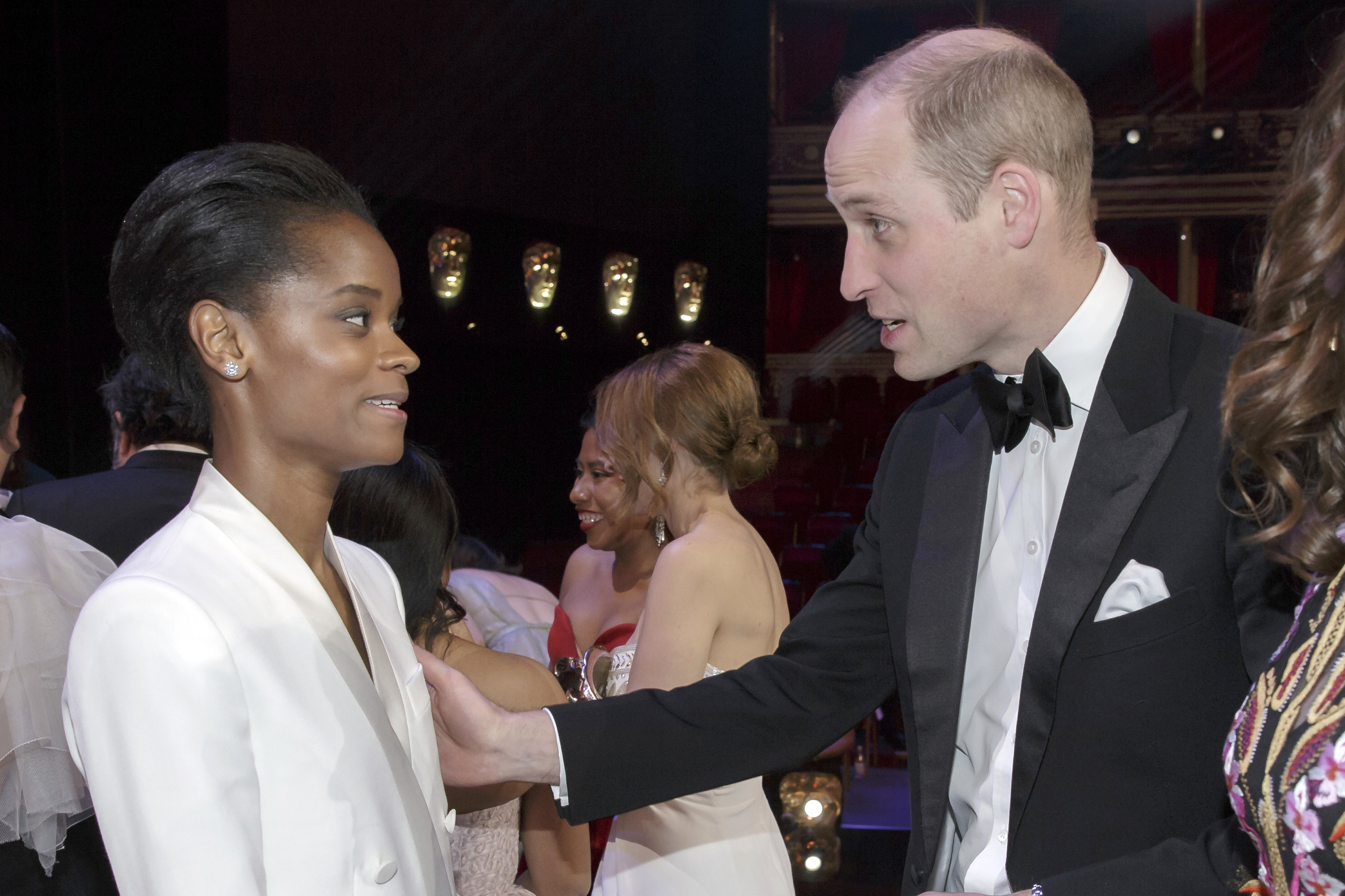 LONDON, ENGLAND - FEBRUARY 10: Prince William, Duke of Cambridge meets Letitia Wright after the following the EE British Academy Film Awards at Royal Albert Hall on February 10, 2019 in London, England. (Photo by Tim Ireland - WPA Pool/Getty Images)