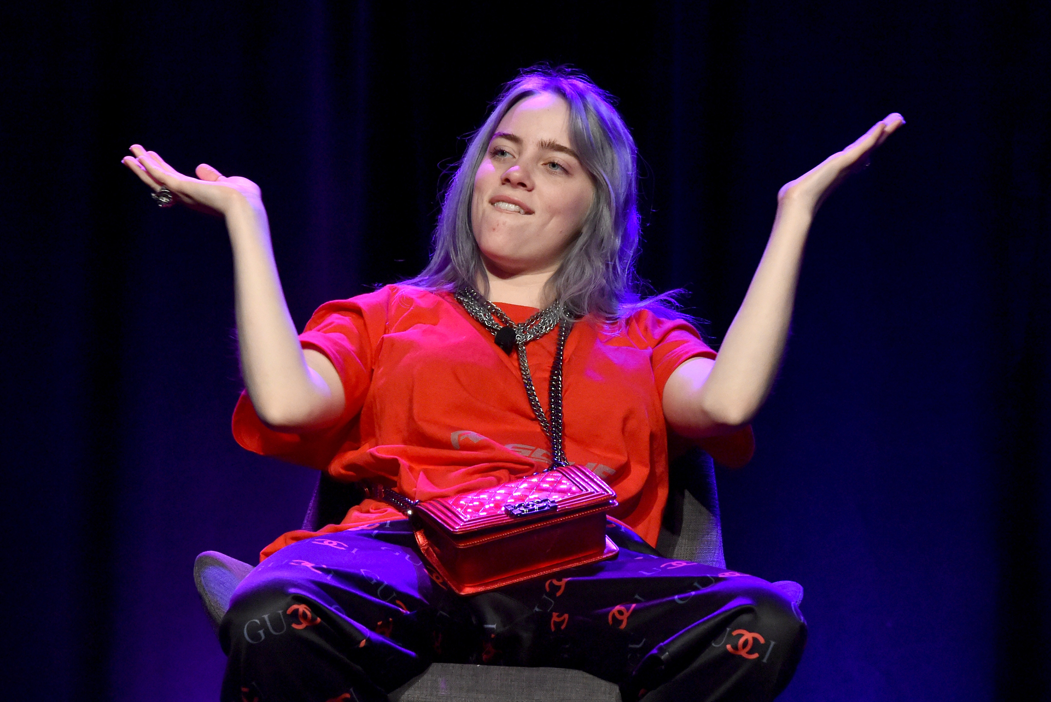 """HOLLYWOOD, CA - MAY 08:  Singer/Songwriter Billie Eilish speaks onstage at the 'Billie Eilish and Finneas O'Connell in Conversation' panel at The 2018 ASCAP """"I Create Music"""" EXPO at Loews Hollywood Hotel on May 8, 2018 in Hollywood, California.  (Photo by Lester Cohen/Getty Images for ASCAP)"""