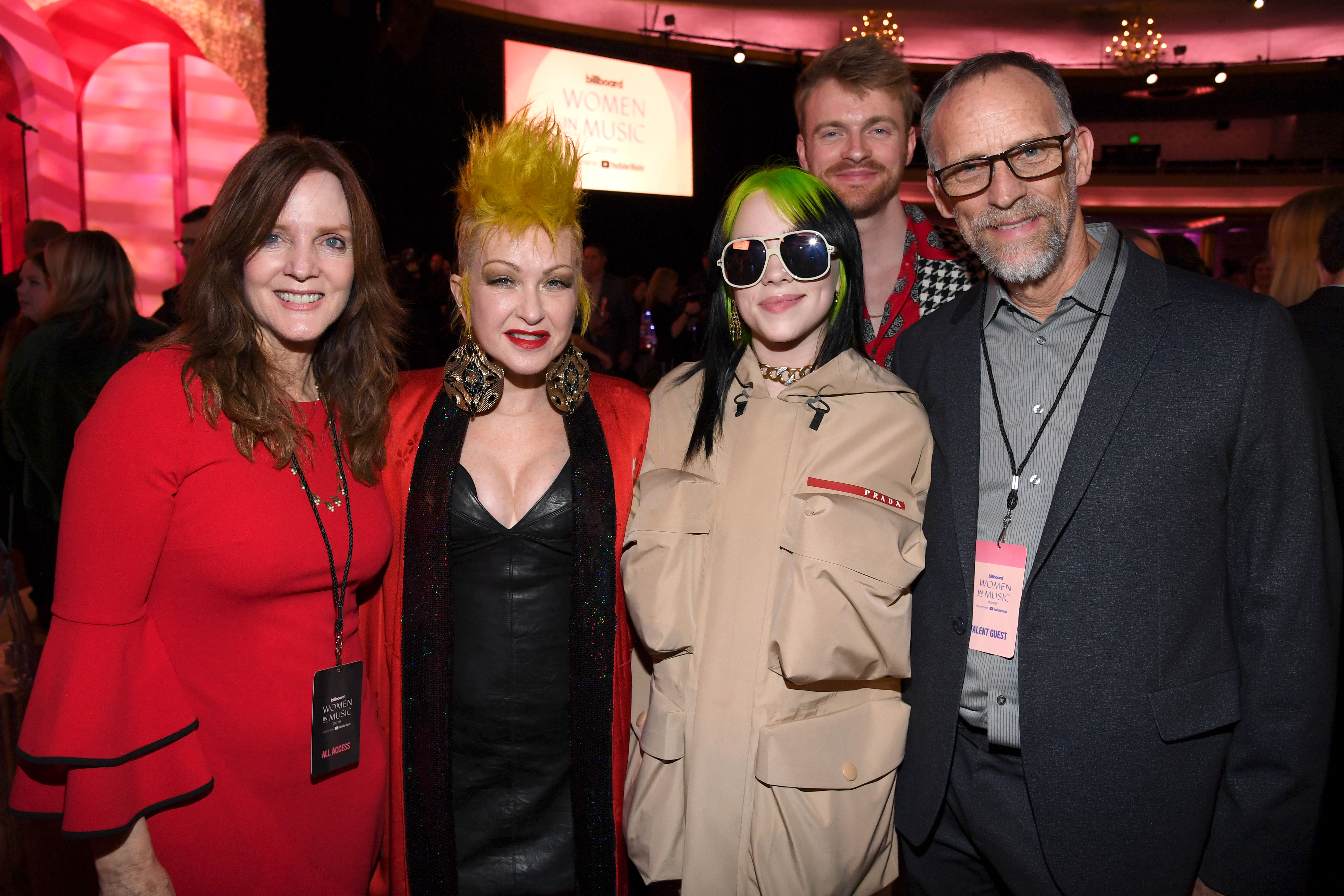 LOS ANGELES, CALIFORNIA - DECEMBER 12: (L-R) Maggie Baird, Cyndi Lauper, Billie Eilish, Finneas O'Connell and Patrick O'Connell attend Billboard Women In Music 2019, presented by YouTube Music, on December 12, 2019 in Los Angeles, California. (Photo by Kevin Mazur/Getty Images for Billboard)