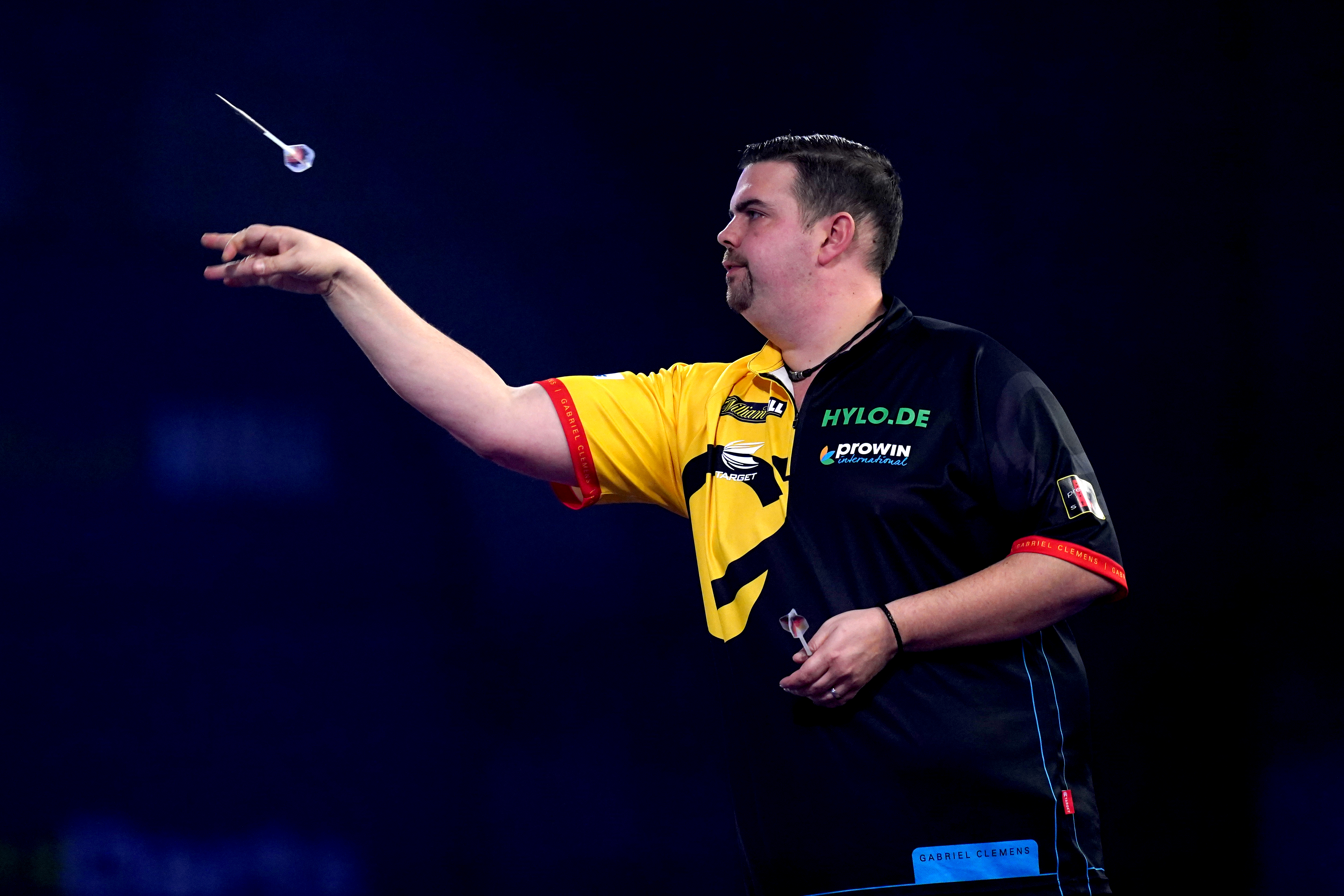 Gabriel Clemens during his match against Peter Wright during day ten of the William Hill World Darts Championship at Alexandra Palace, London. (Photo by John Walton/PA Images via Getty Images)
