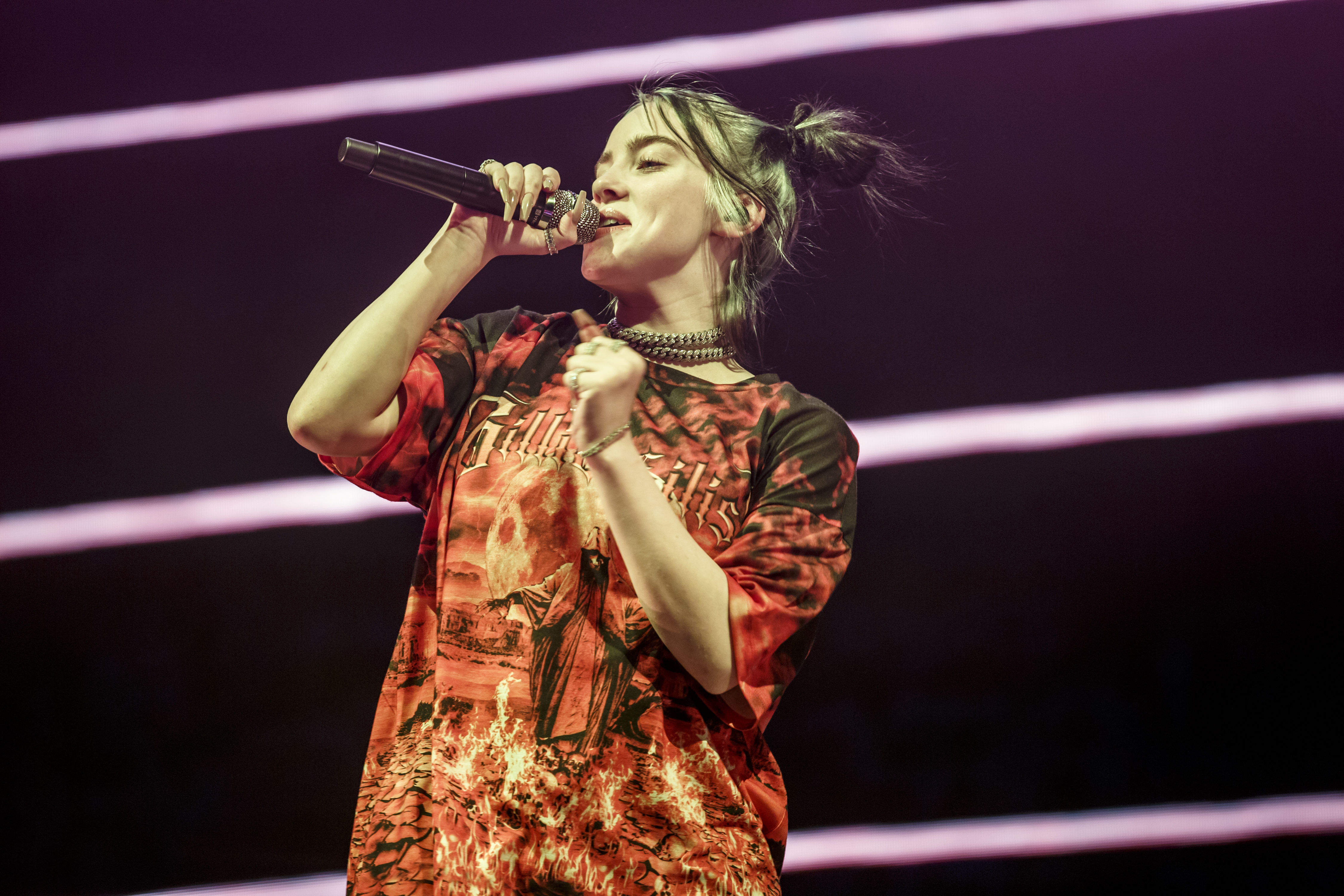 BARCELONA, SPAIN - SEPTEMBER 02: Billie Eilish performs in concert at Palau Sant Jordi on September 02, 2019 in Barcelona, Spain. (Photo by Xavi Torrent/Redferns)