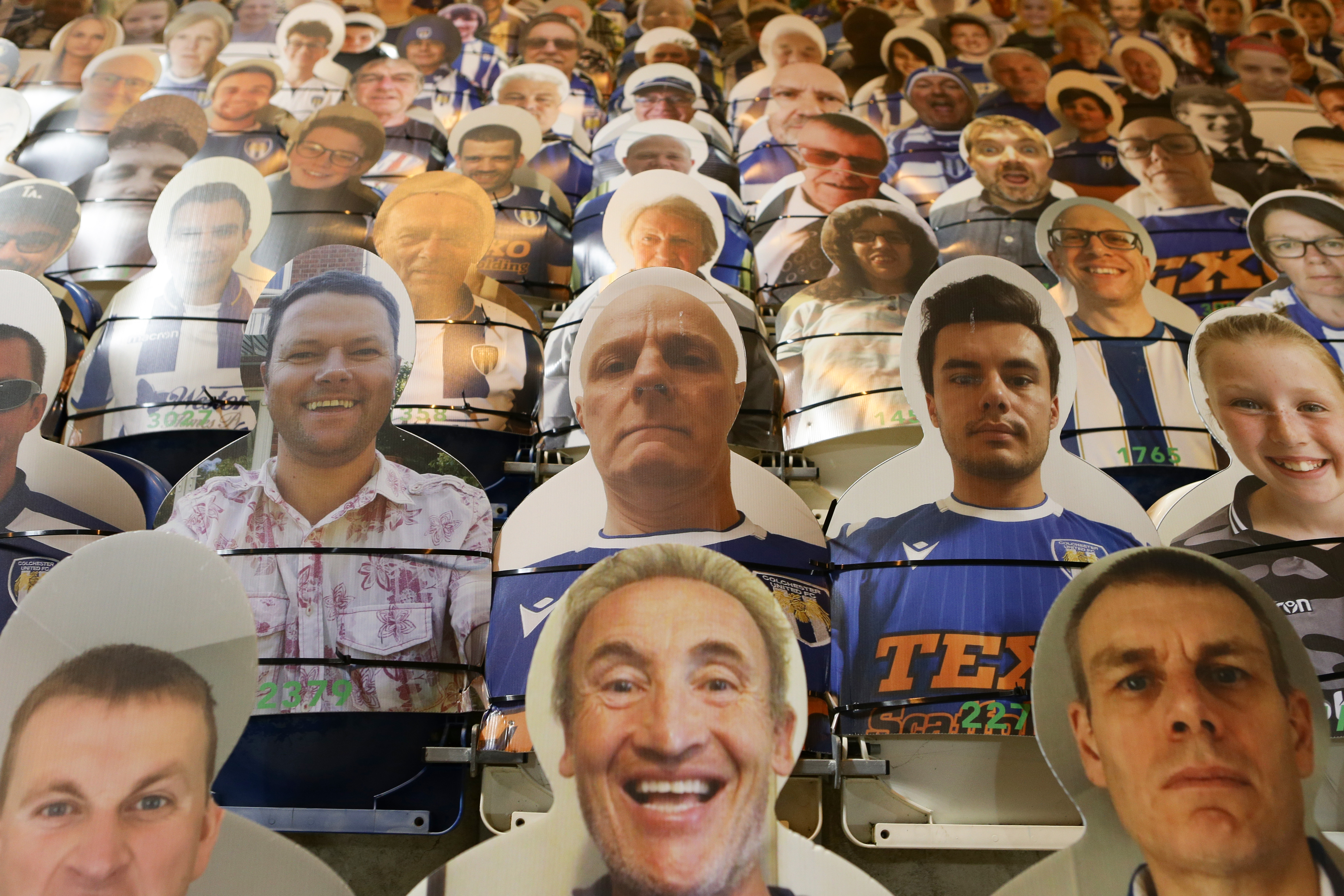COLCHESTER, ENGLAND - DECEMBER 29: Cardboard cut outs of fans in the stands before the Sky Bet League Two match between Colchester United and Cheltenham Town at JobServe Community Stadium on December 29, 2020 in Colchester, England. (Photo by Jacques Feeney/Getty Images)