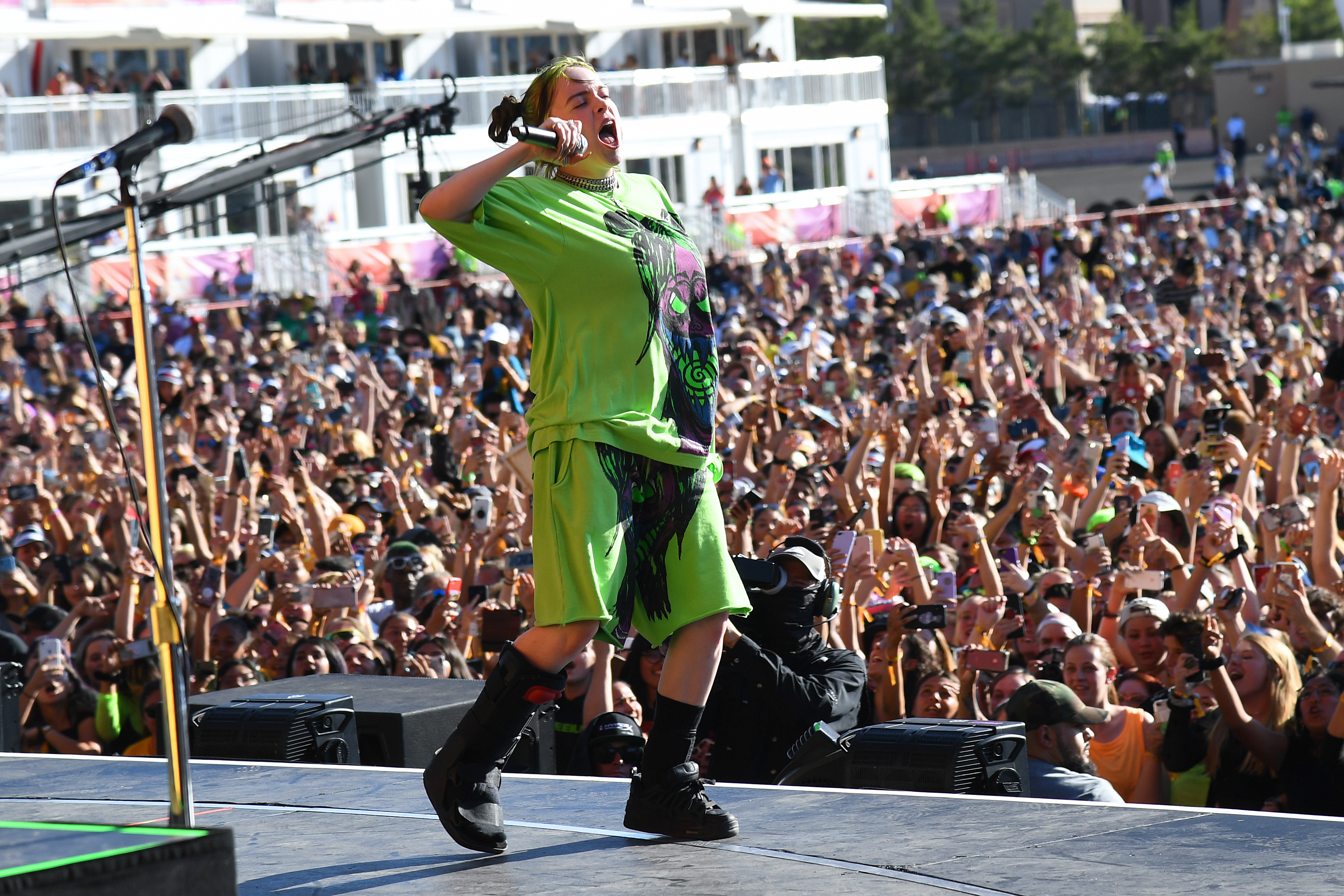 LAS VEGAS, NEVADA - SEPTEMBER 21: Billie Eilish performs onstage during the Daytime Stage at the 2019 iHeartRadio Music Festival held at the Las Vegas Festival Grounds on September 21, 2019 in Las Vegas, Nevada EDITORIAL USE ONLY. (Photo by Kevin Mazur/Getty Images for iHeartMedia