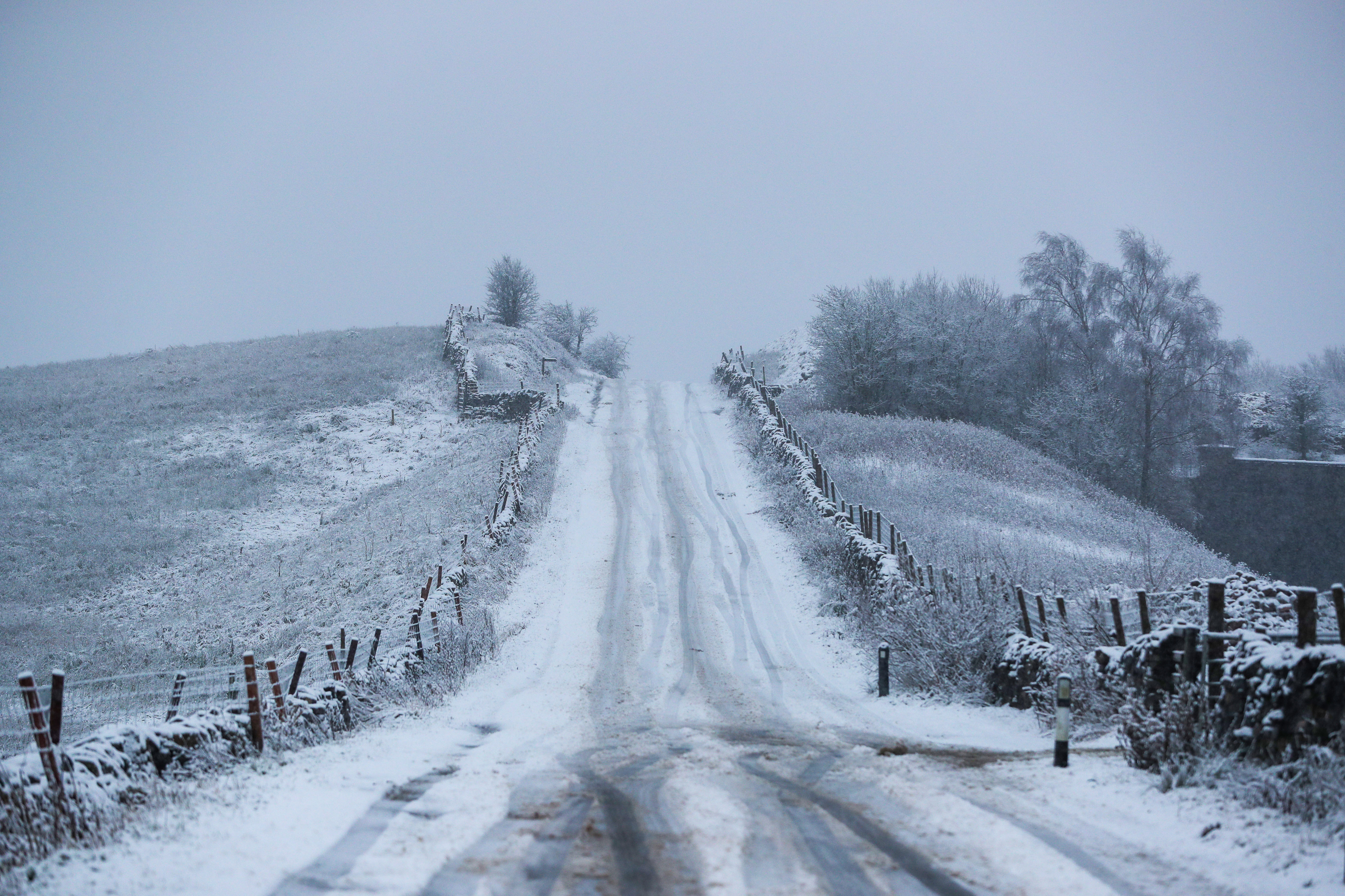 Snow falls on the hills of North Yorkshire with the UK expecting more wintry weather ahead of the first weekend of December, with warnings in place for ice and snow.