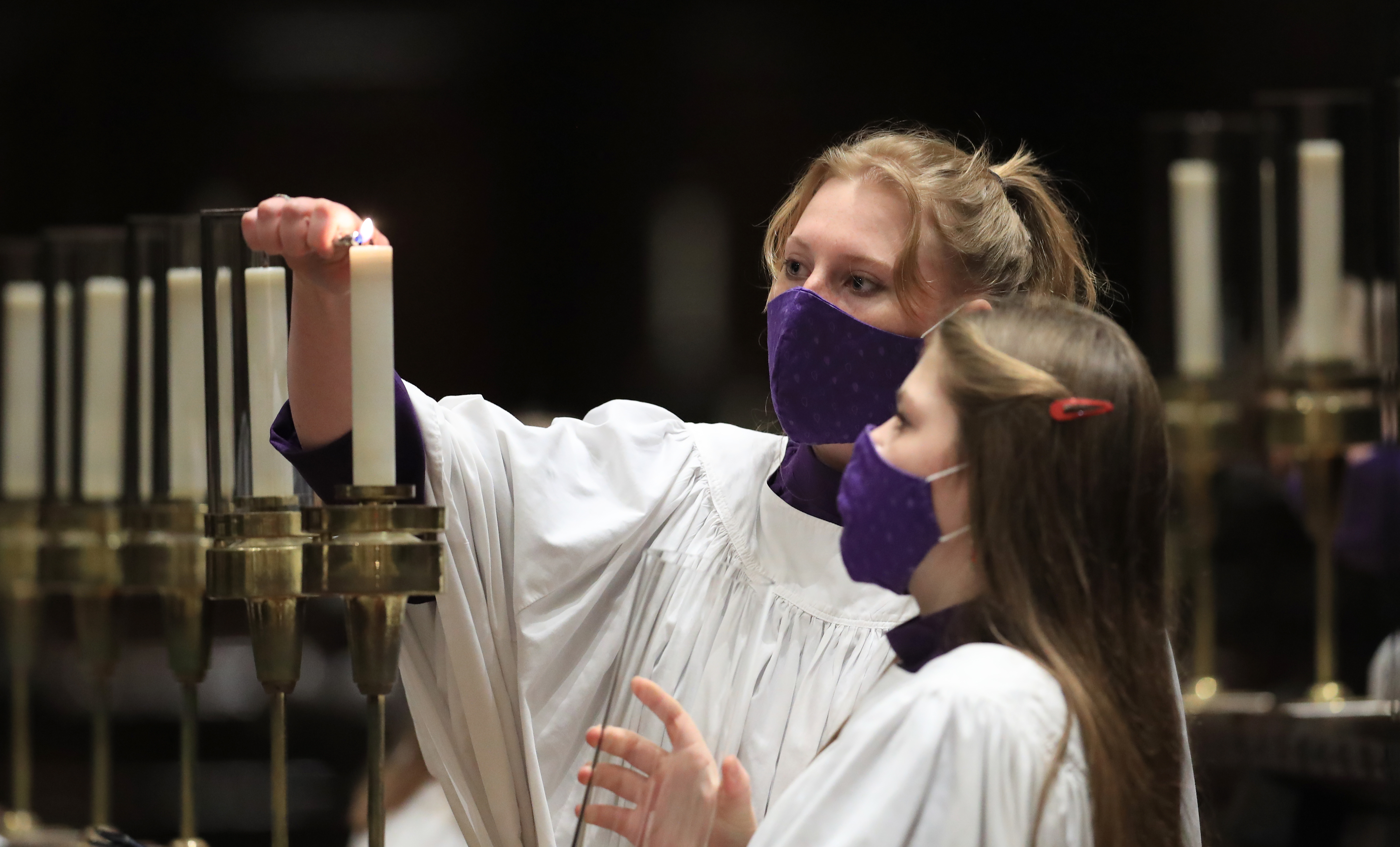 Members of the Canterbury Cathedral GirlsÕ Choir prepare to film the last of three pre-recorded online carol services which will be available to viewers on the cathedral website over the Christmas period. (Photo by Gareth Fuller/PA Images via Getty Images)