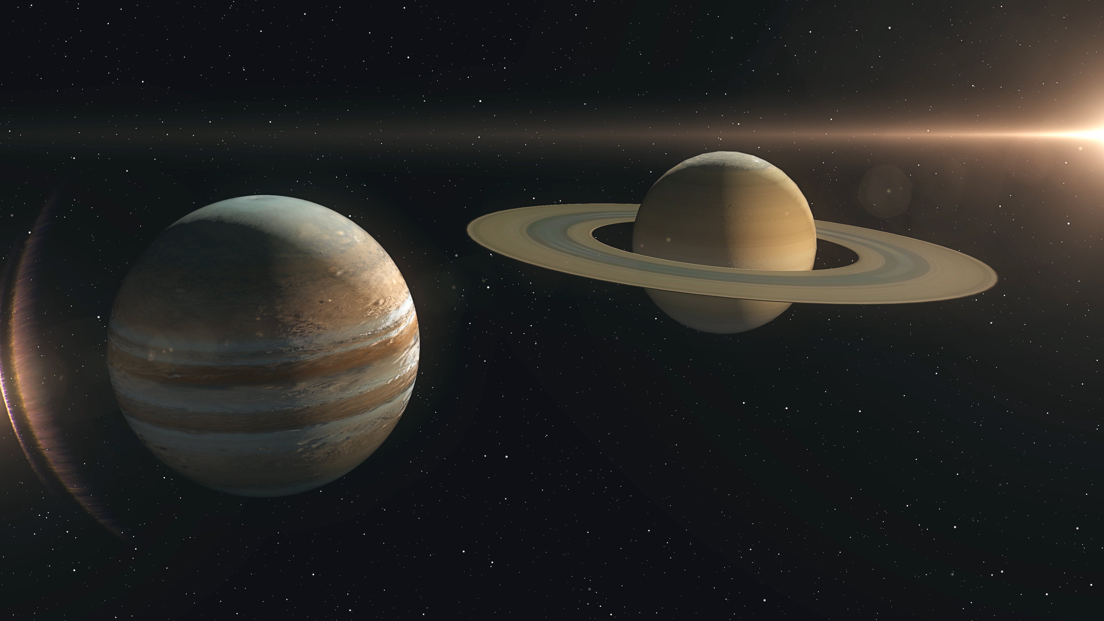 Saturn and Jupiter are exceptionally close to each other. 3D scene created and modelled in Adobe After Effects and the planet textures are taken from Solar System Scope official website (https://www.solarsystemscope.com/textures/)