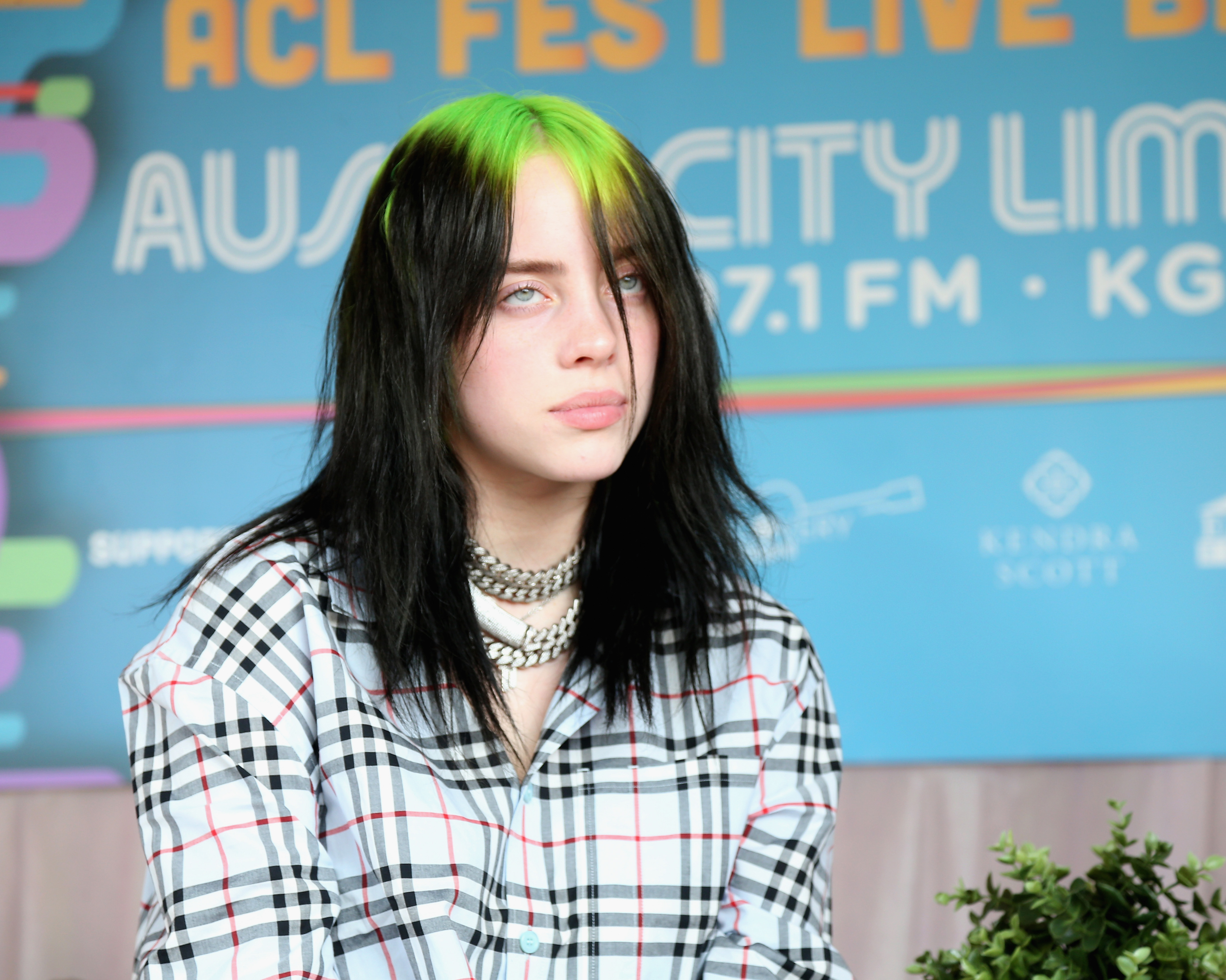 AUSTIN, TEXAS - OCTOBER 05:  Billie Eilish is interviewed back stage during weekend one of the 2019 ACL Fest at Zilker Park on October 5, 2019 in Austin, Texas.  (Photo by Gary Miller/Getty Images)