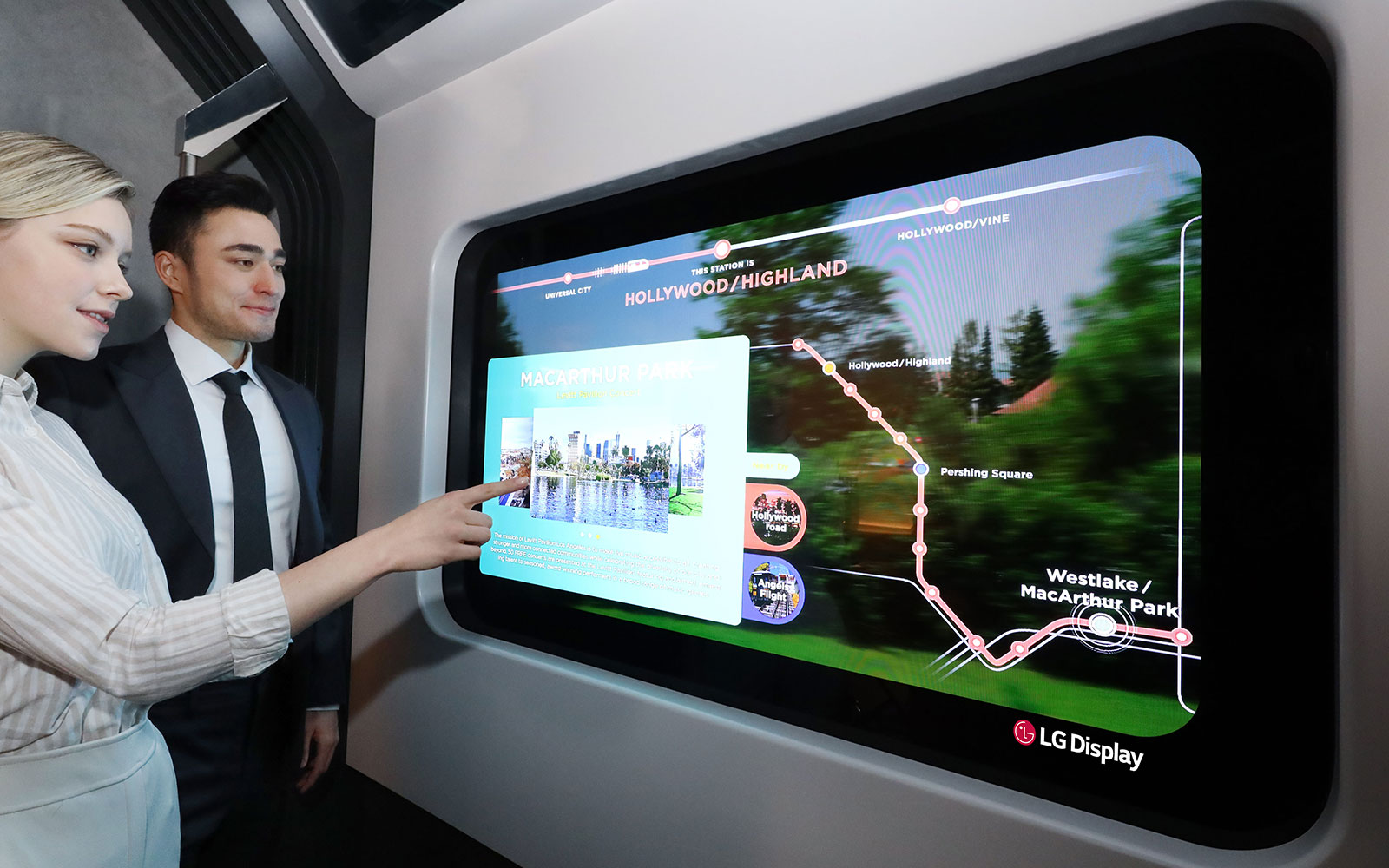 LG Display will additionally demonstrate how the company's 55-inch Transparent OLED display can be applied to a subway train in a Metro Zone. While on board a virtual train carriage, passengers may look outside through the transparent display that has replaced a traditional window. Its high transparency enabled by OLED means passengers can still enjoy the passing scenery while viewing clear information such as subway line maps, weather information, and other news.