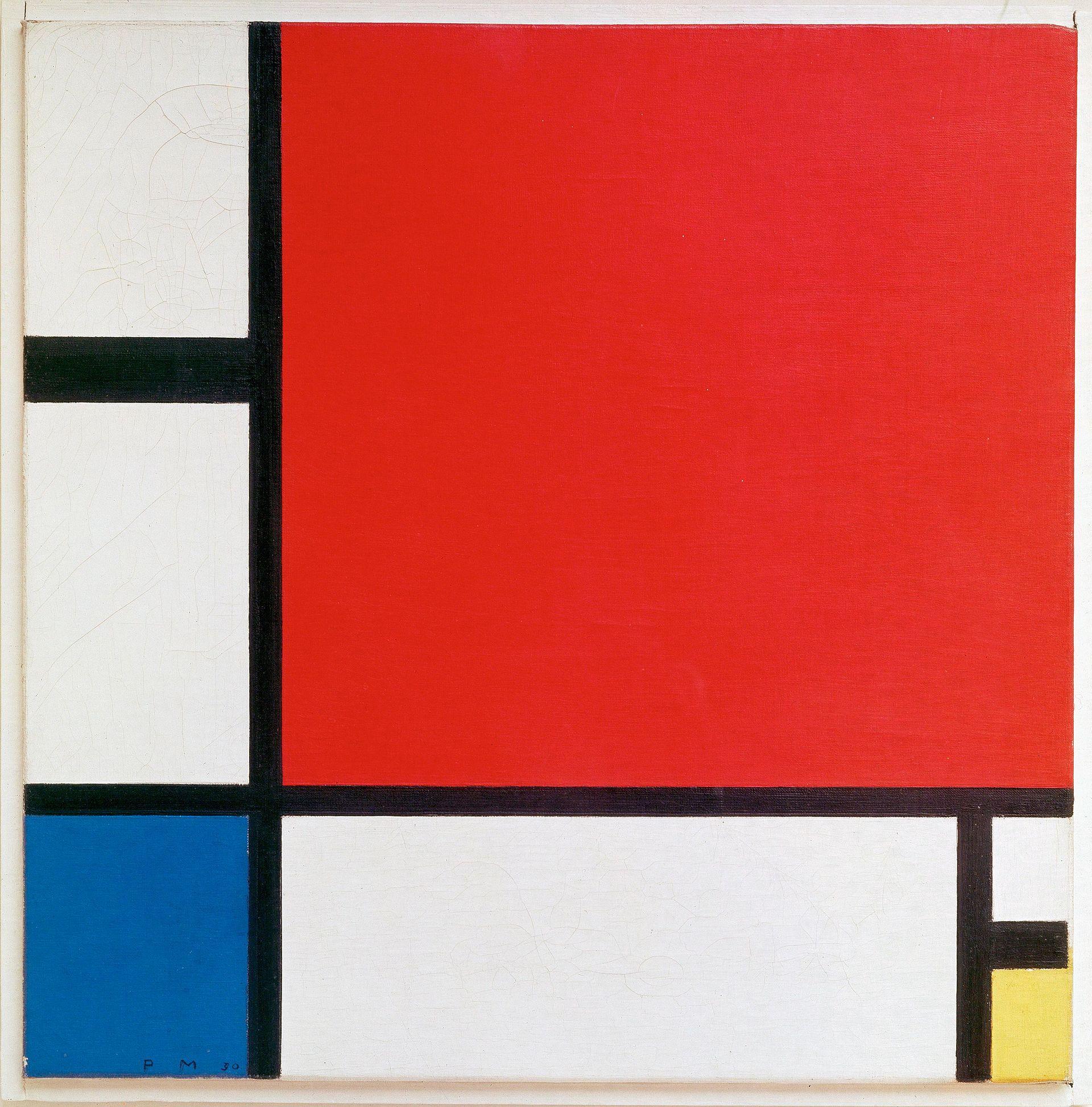 (图八)艺术家蒙德里安的作品-红黄蓝构成