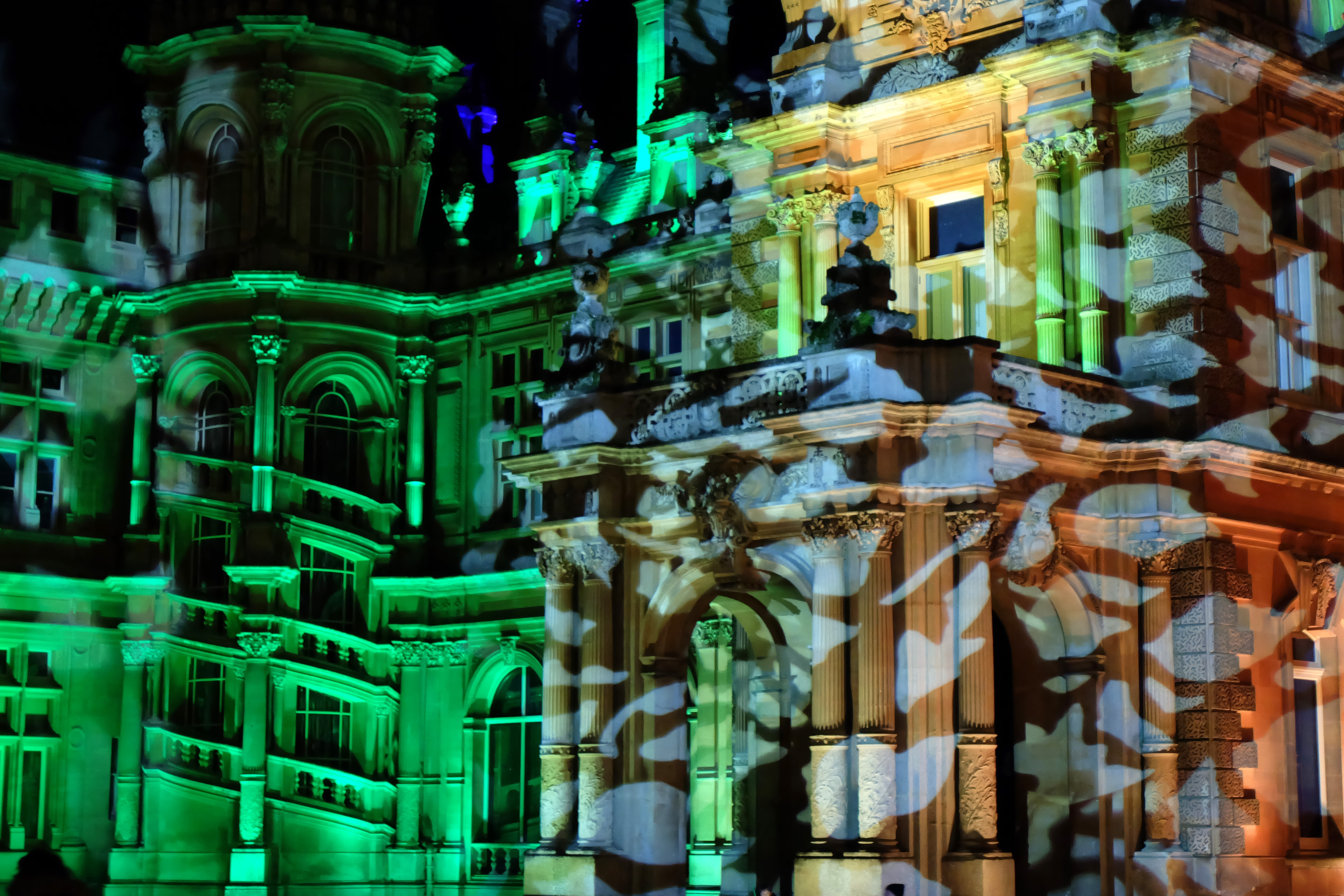 AYLESBURY, ENGLAND - DECEMBER 04:  Light installations entertain visitors during 'Christmas at Waddesdon' at Waddesdon Manor in Buckinghamshire, on December 04, 2020 in Aylesbury, England. (Photo by Jim Dyson/Getty Images)