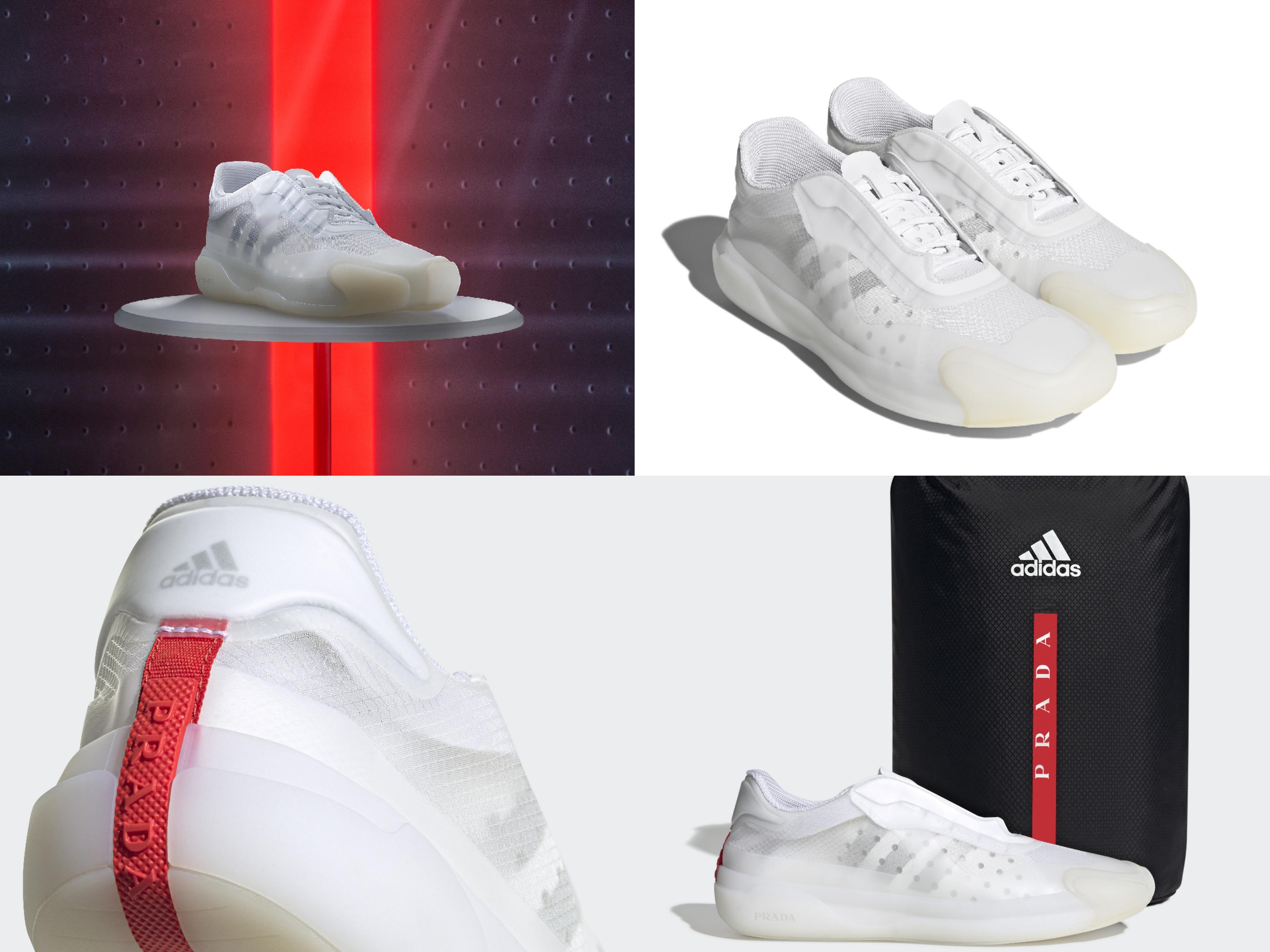 adidas for Prada A+P LUNA ROSSA 21鞋款 NT$19000 具備流線型俐落線條與輕量質感,獨具時尚美學風格