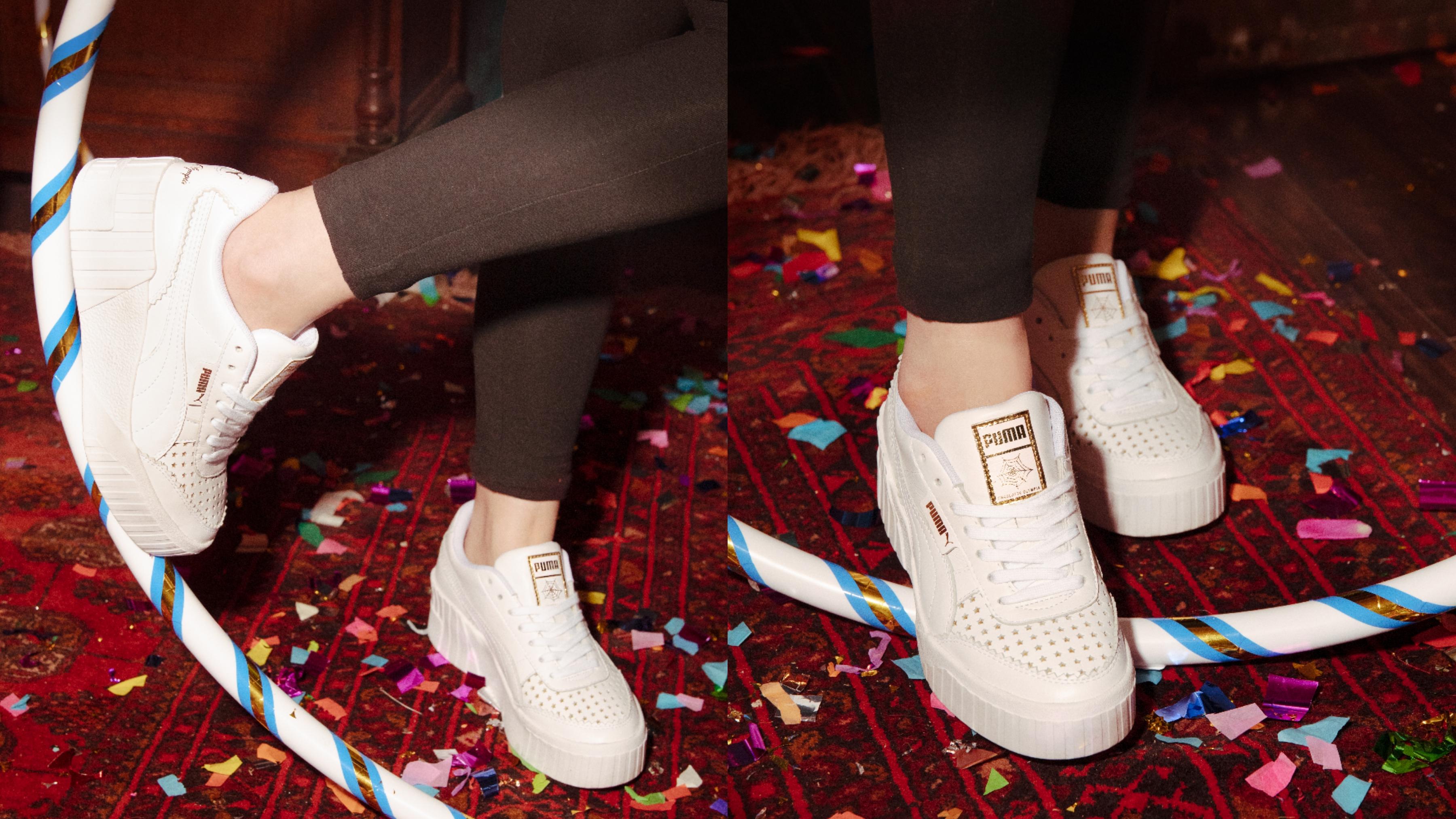 PUMA Cali Wedge CHARLOTTE,NT$4280 純白高級皮革搭配金色星星點綴鞋面網眼,時尚超百搭