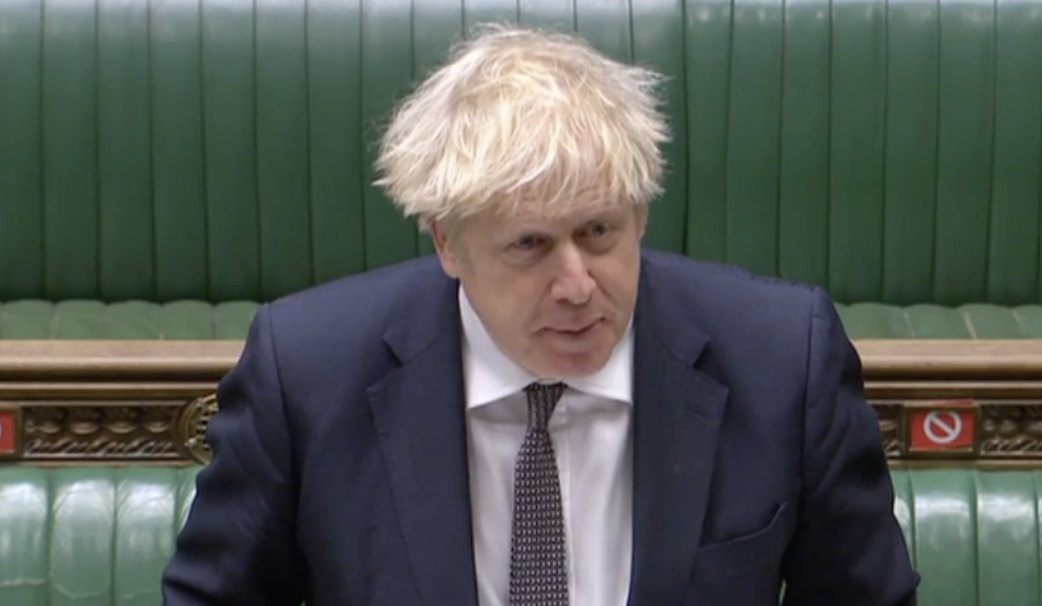 'Exercise extreme caution': Boris Johnson speaking about Christmas at PMQs on Wednesday. (Parliamentlive.tv)