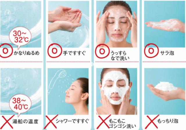 清潔力太強,而洗淨成分也會停留在肌膚上太久,這樣會使皮膚容易乾,過度沖洗也很傷皮膚,所以請用低泡沫產品,短時間內結束,而且水的溫度也需要注意,洗臉的最佳溫度是30~32度。