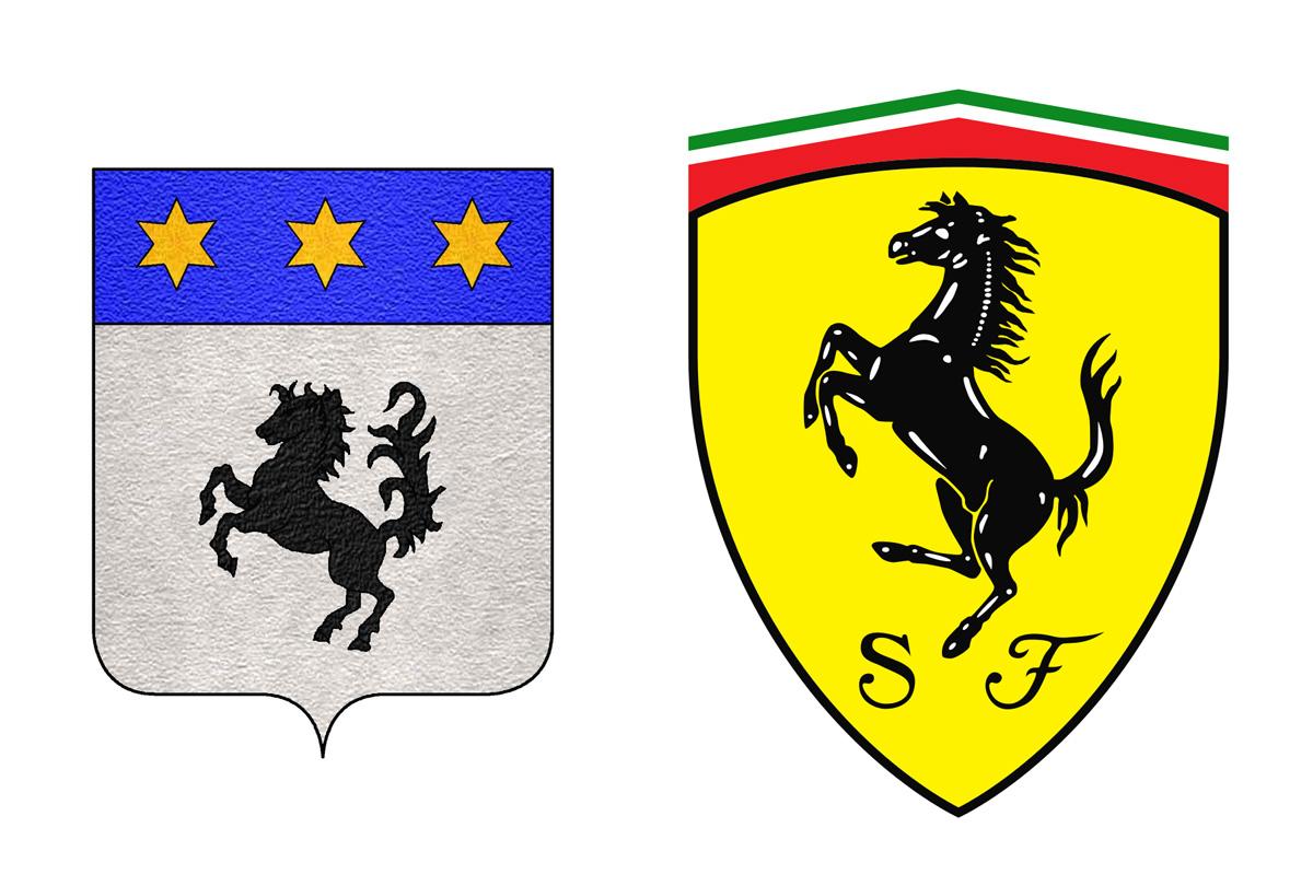 左邊為巴拉卡家族的徽章,右邊是法拉利用於車身的盾型廠徽