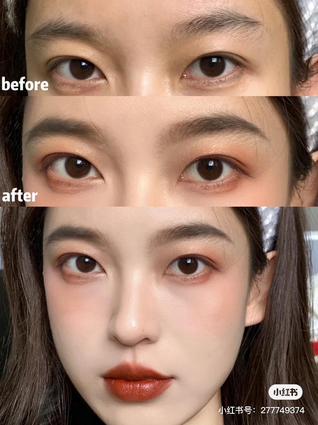 看一下對比圖就知道,畫上眉毛可以讓整個妝容更加精緻,還有集中五官、小臉的效果,眼睛也變得更有神了~