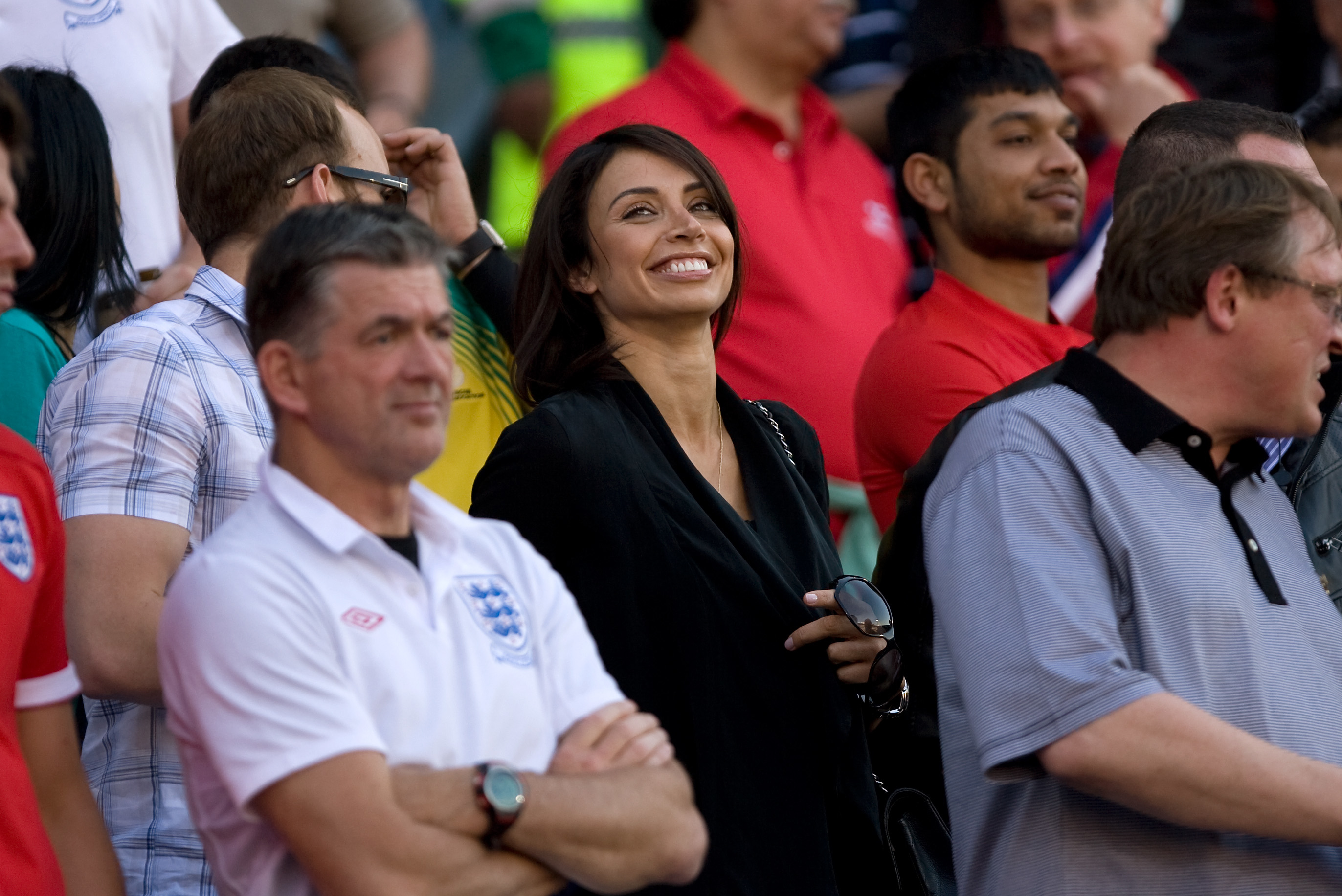 Christine Bleakley?, television celebrity and girlfriend of Frank Lampard of England is all smiles before the match (Photo by AMA/Corbis via Getty Images)