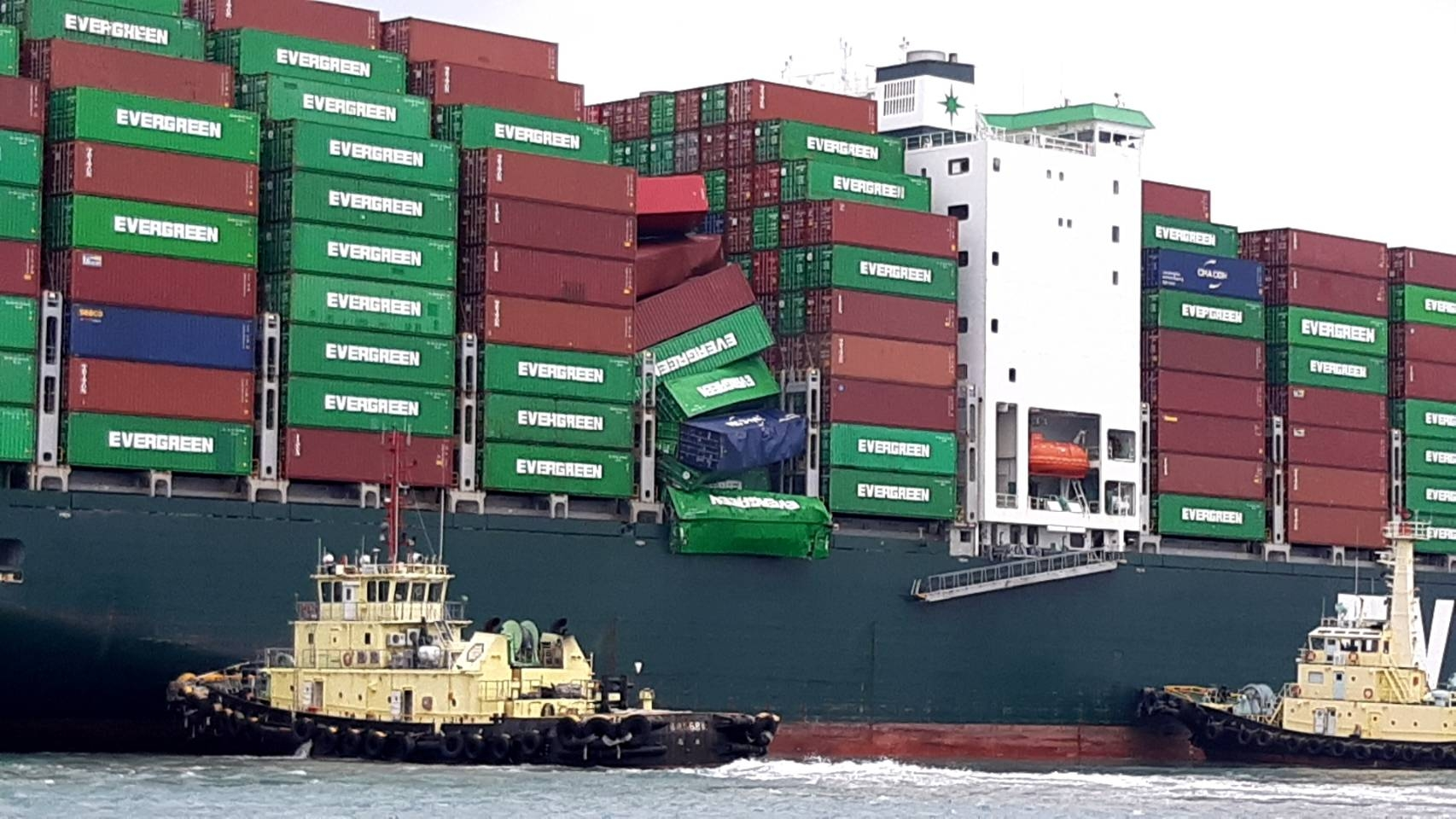 Ever Liberal - containers falling into the sea