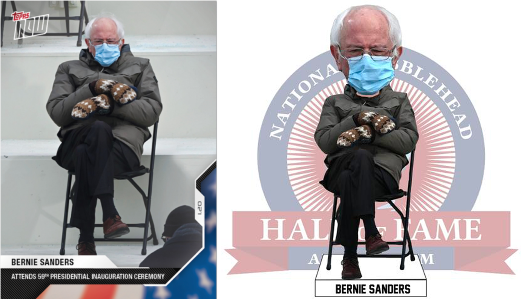 Inauguration 2021 Topps Makes A Bernie Sanders Baseball Card