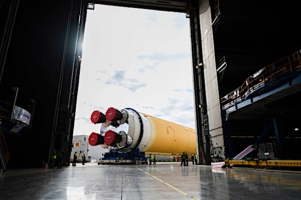 "This NASA photo released on Jan.6, 2020 shows a powerful new NASA rocket, the Space Launch System (SLS), which will send astronauts a quarter of a million miles from Earth into lunar orbit at the Michoud Assembly Facility in New Orleans, Louisiana.  - The agency has pledged to land US astronauts, including the first woman and the next man, on the moon by 2024. Thanks to the agency's Artemis lunar exploration program, we will use new innovative technologies and systems to explore the Moon more than ever.  On January 1, 2020, NASA Administrator Jim Bridenstine tweeted: ""Make progress!  The big main stage of @NASA_SLS is moving to building 110 of the Michoud assembly facility in Louisiana.  There he will be prepared for the barge Pegasus and his trip to @NASAStennis.  Thanks to the @NASA team for working over the holidays!"" (Photo by Jude Guidry / NASA / AFP) (Photo by JUDE GUIDRY / NASA / AFP via Getty Images)"