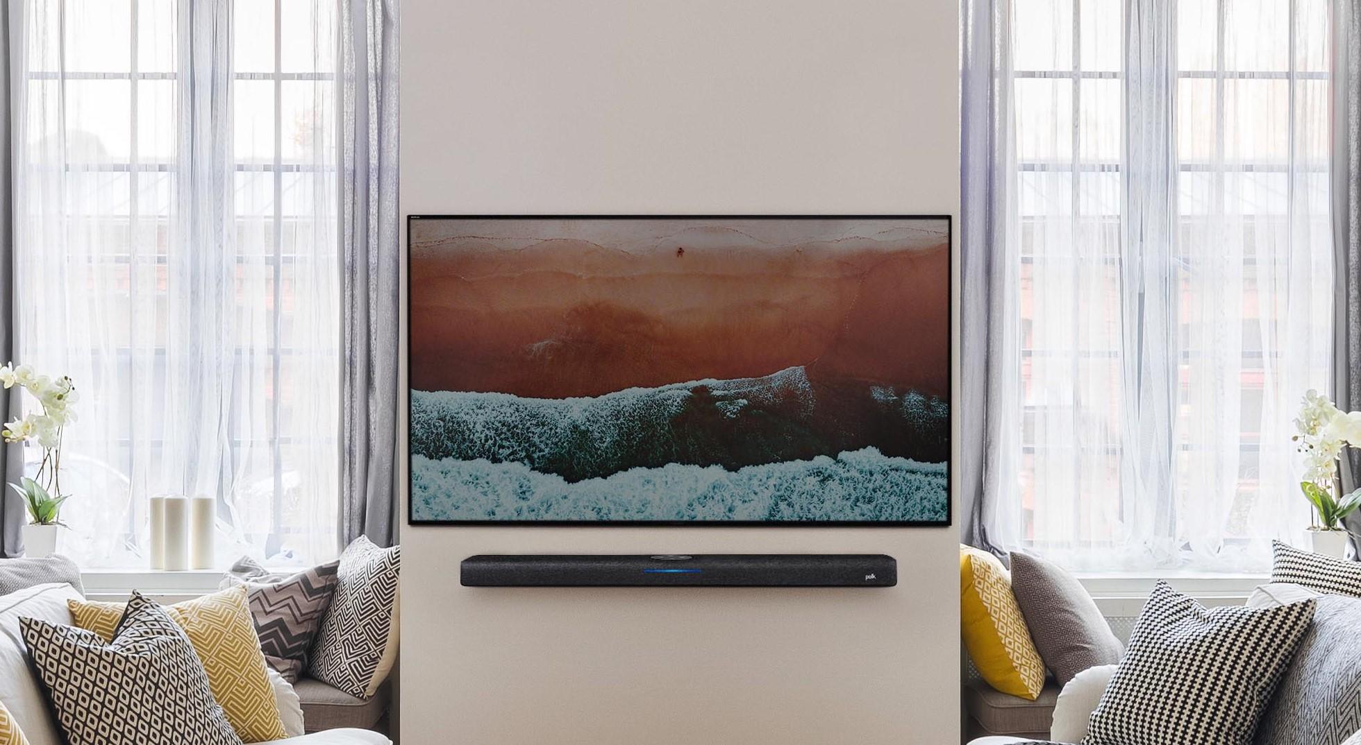 Polk React soundbar as depicted in a living room