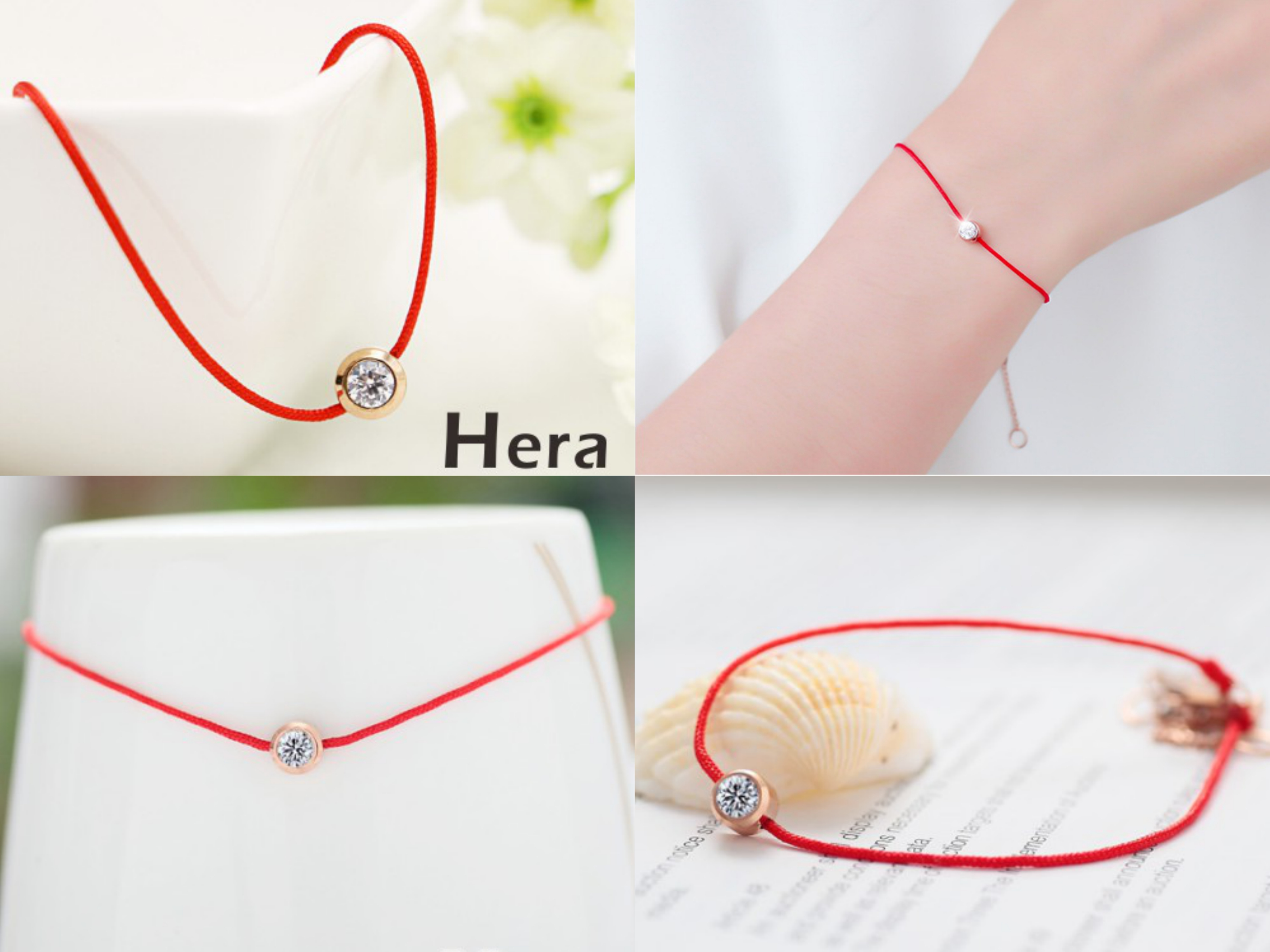 Hera赫拉 明星同款鋯石圓鑽轉運招桃花紅繩手鍊 一條會說愛的禮物,閃耀大鋯石做工精緻亮度UPUP