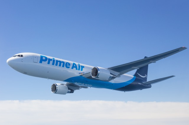 Amazon Prime Air Boeing 767, photographed on August 8, 2016 from Wolfe Air Learjet 25B by Chad Slattery