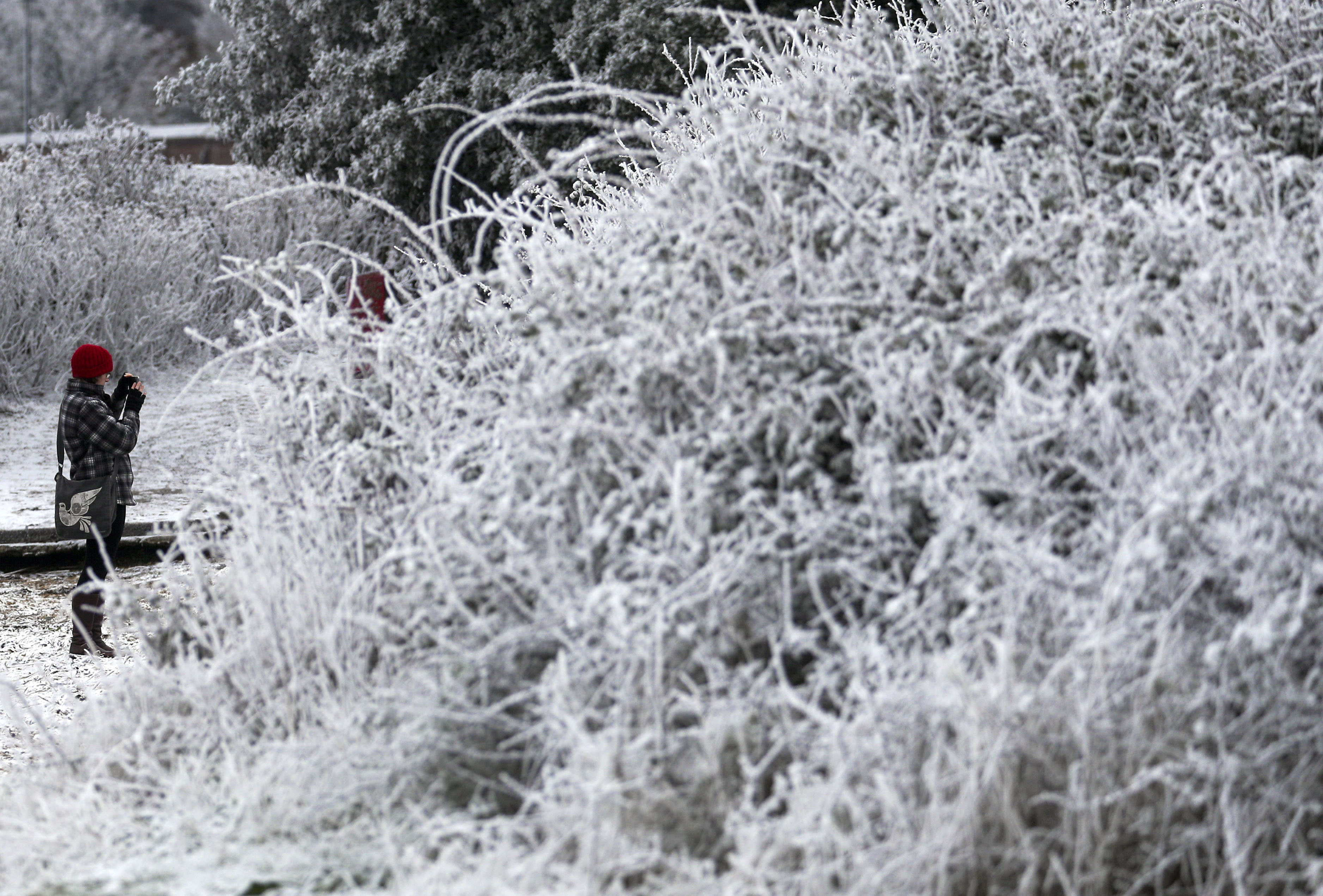 A walker photographs the snow and frost in Marchwood near Southampton. (Photo by Steve Parsons/PA Images via Getty Images)