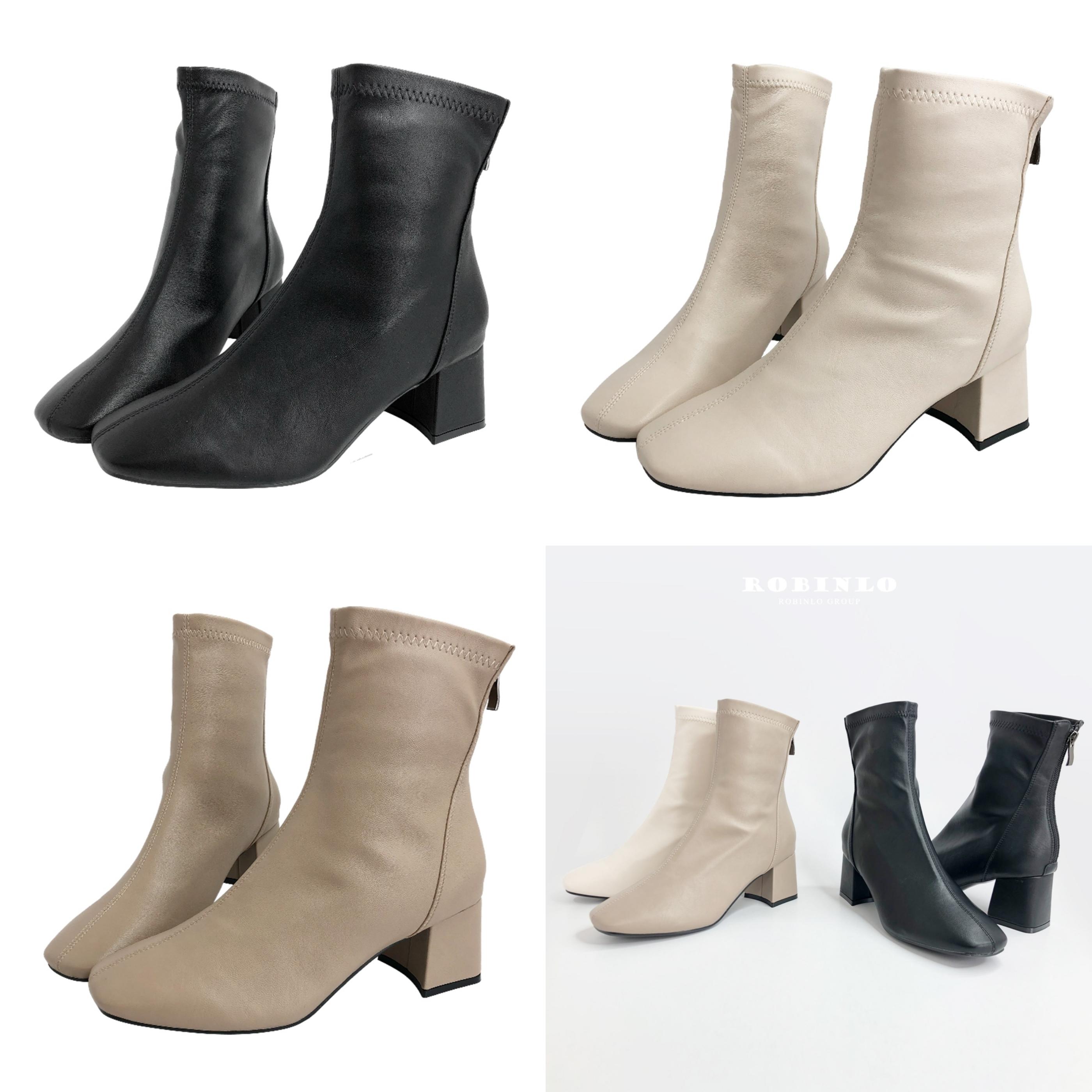 Robinlo完美焦點百搭素面顯瘦粗跟襪靴短靴(三色) 精美縫線X設計感線型剪裁,穿上時髦100分