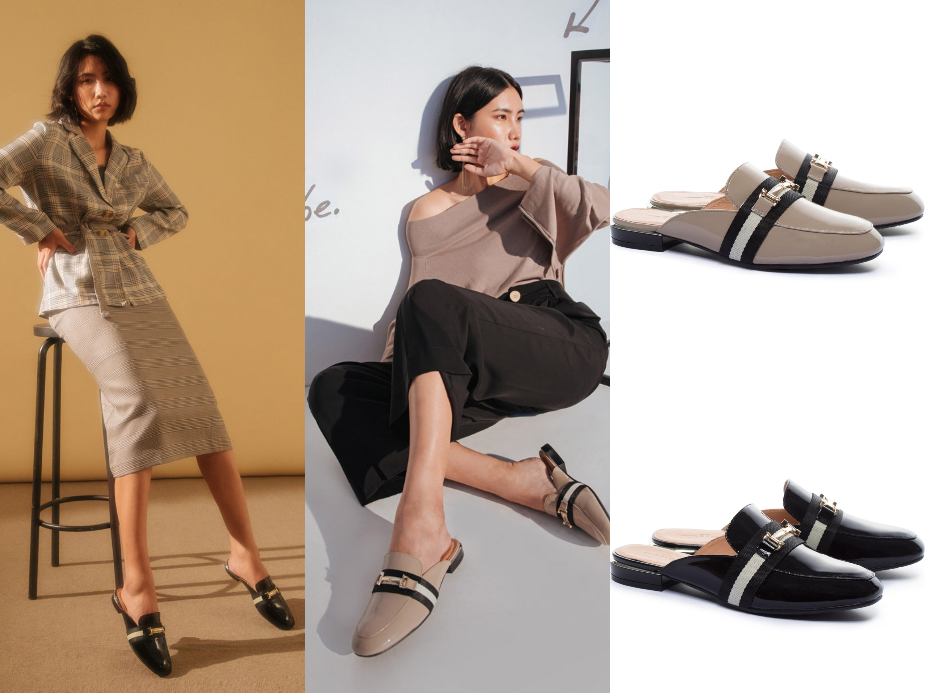 AS 經典潮流金屬釦撞色織帶牛漆皮低跟穆勒拖鞋(兩色) 經典潮流金屬釦穆勒拖鞋款,質感超軟牛漆皮面料製作而成