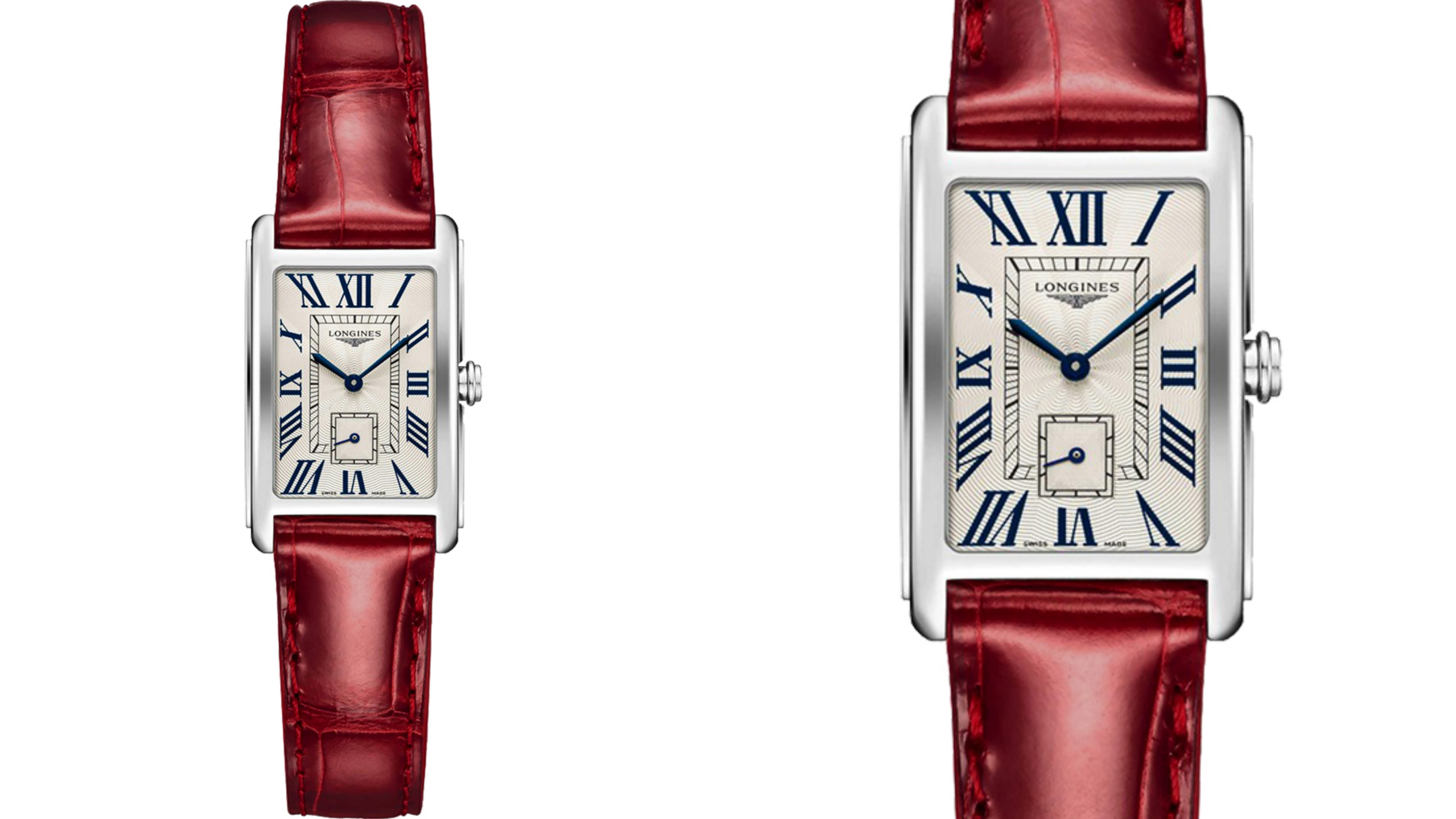 LONGINES DolceVita 獨立小秒針石英女錶-銀x紅/21mm 高規格藍寶石水晶鏡面,風雅尊榮的優質美學,時尚色系搭配鱷魚皮錶帶